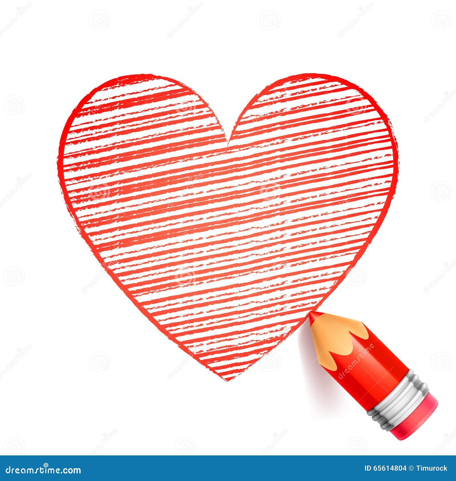 Dibujo Rojo Del Lápiz Y Del Corazón Ilustración Del Vector