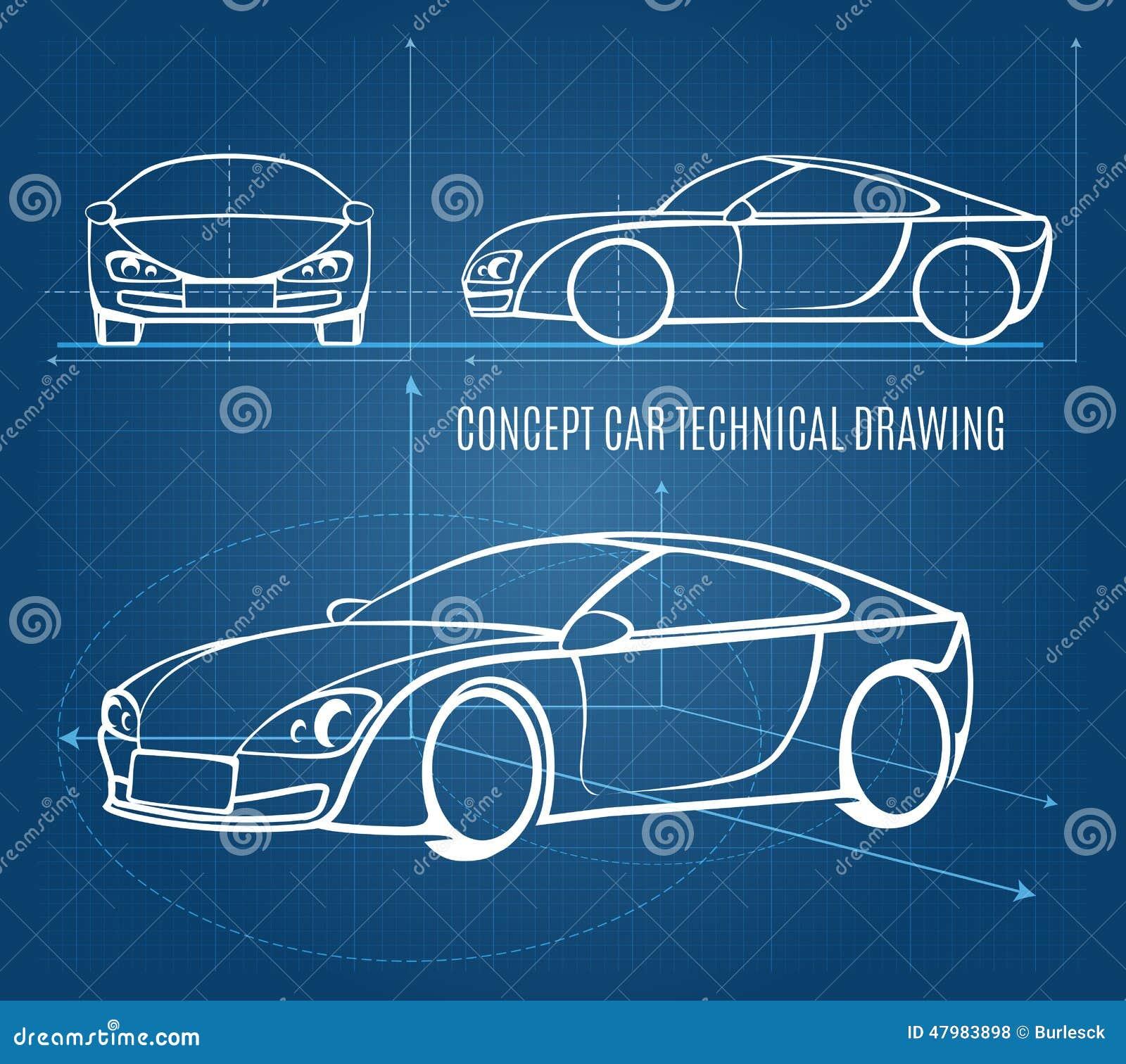 Dibujo Técnico Del Coche Del Concepto Ilustración del Vector ...