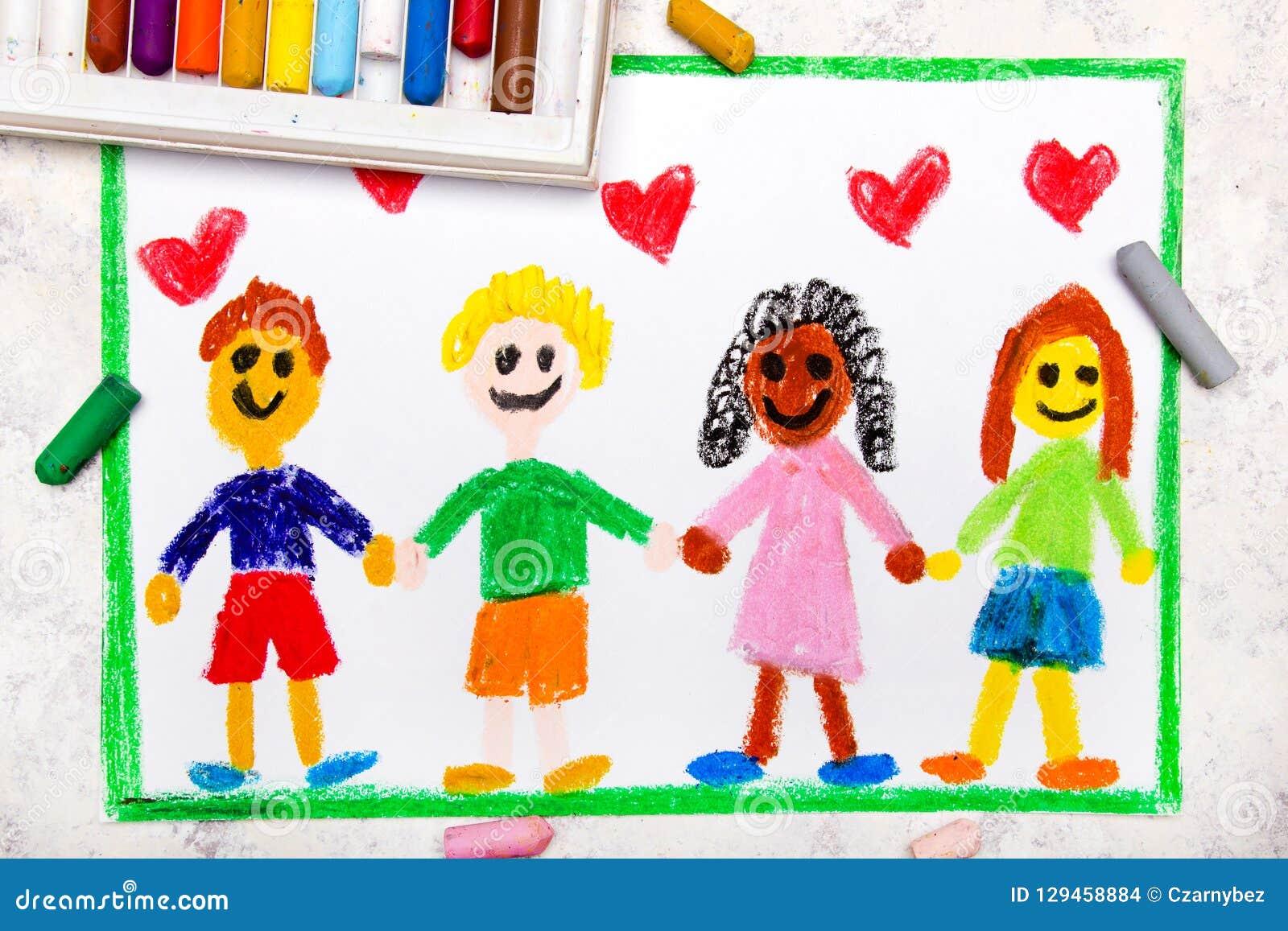 Dibujo Un Grupo De Amigos Internacionales Felices Stock De
