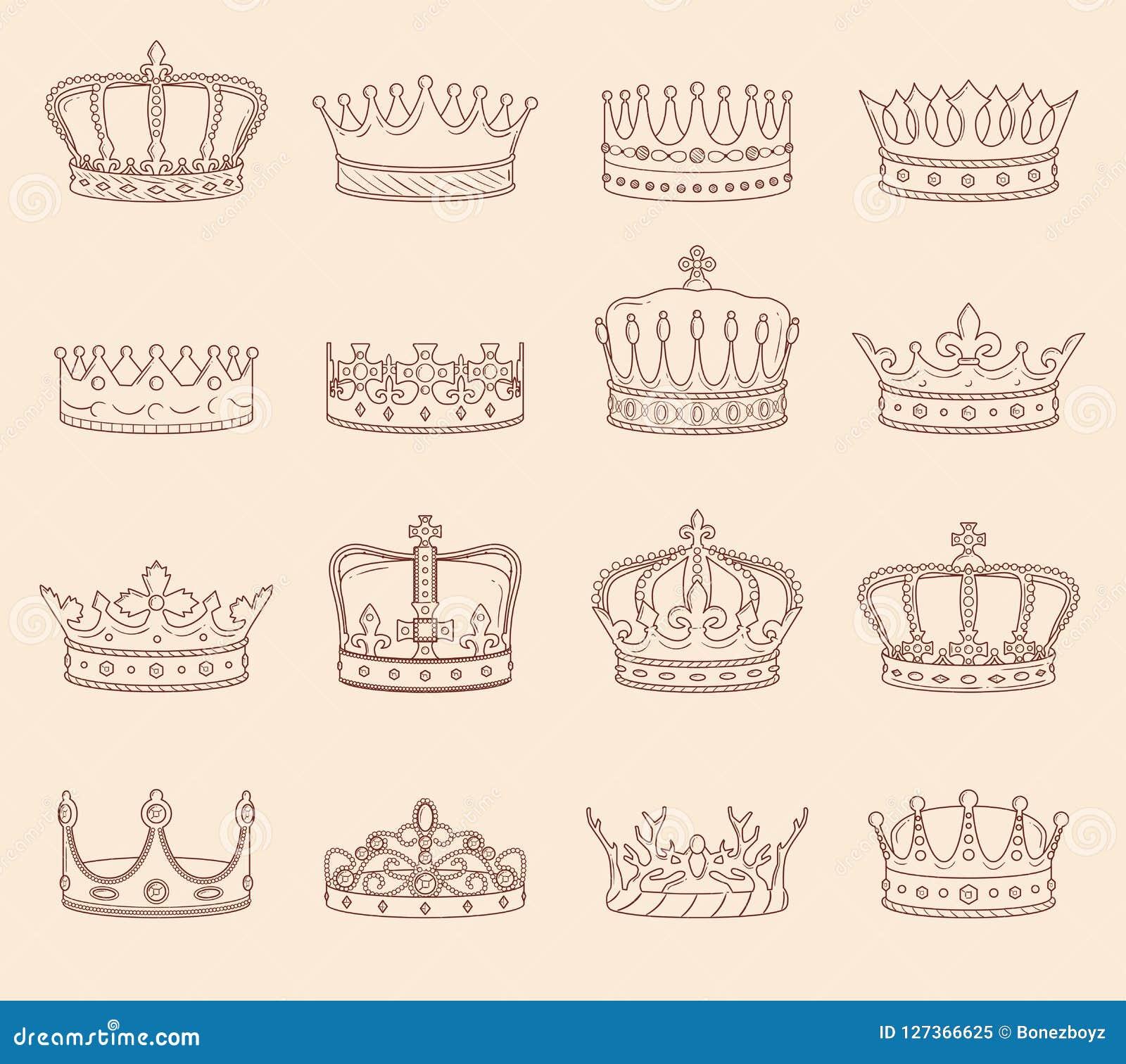 Dibujos De La Corona Del Rey Y De La Reina Ilustración Del Vector