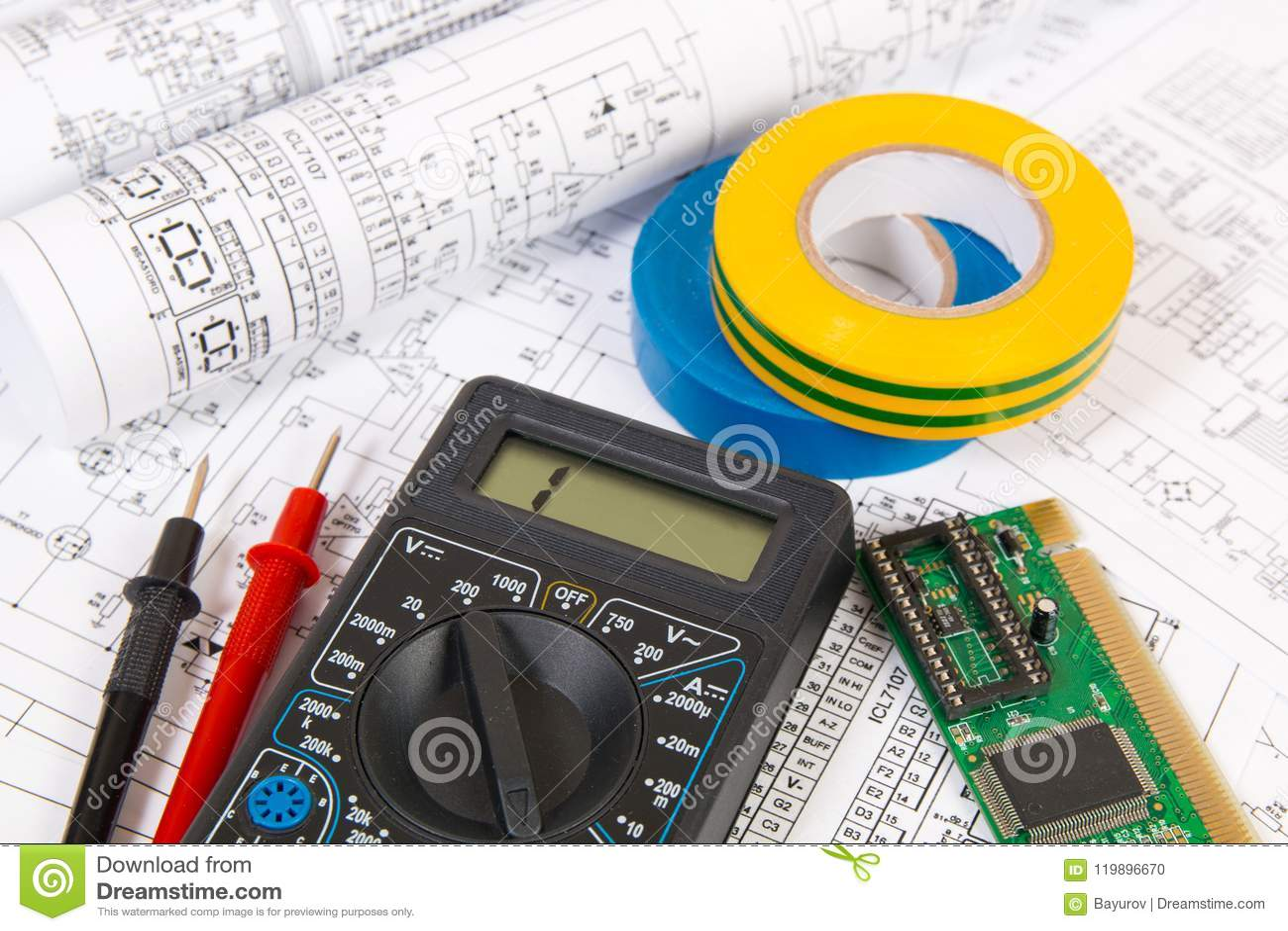 Electrnica Y Circuitos El Multimetro Digital Su Testing Circuit With Multimeter Stock Image 20315121 Dibujos Impresos De Elctricos Del Multmetro Tablero Electrnico La