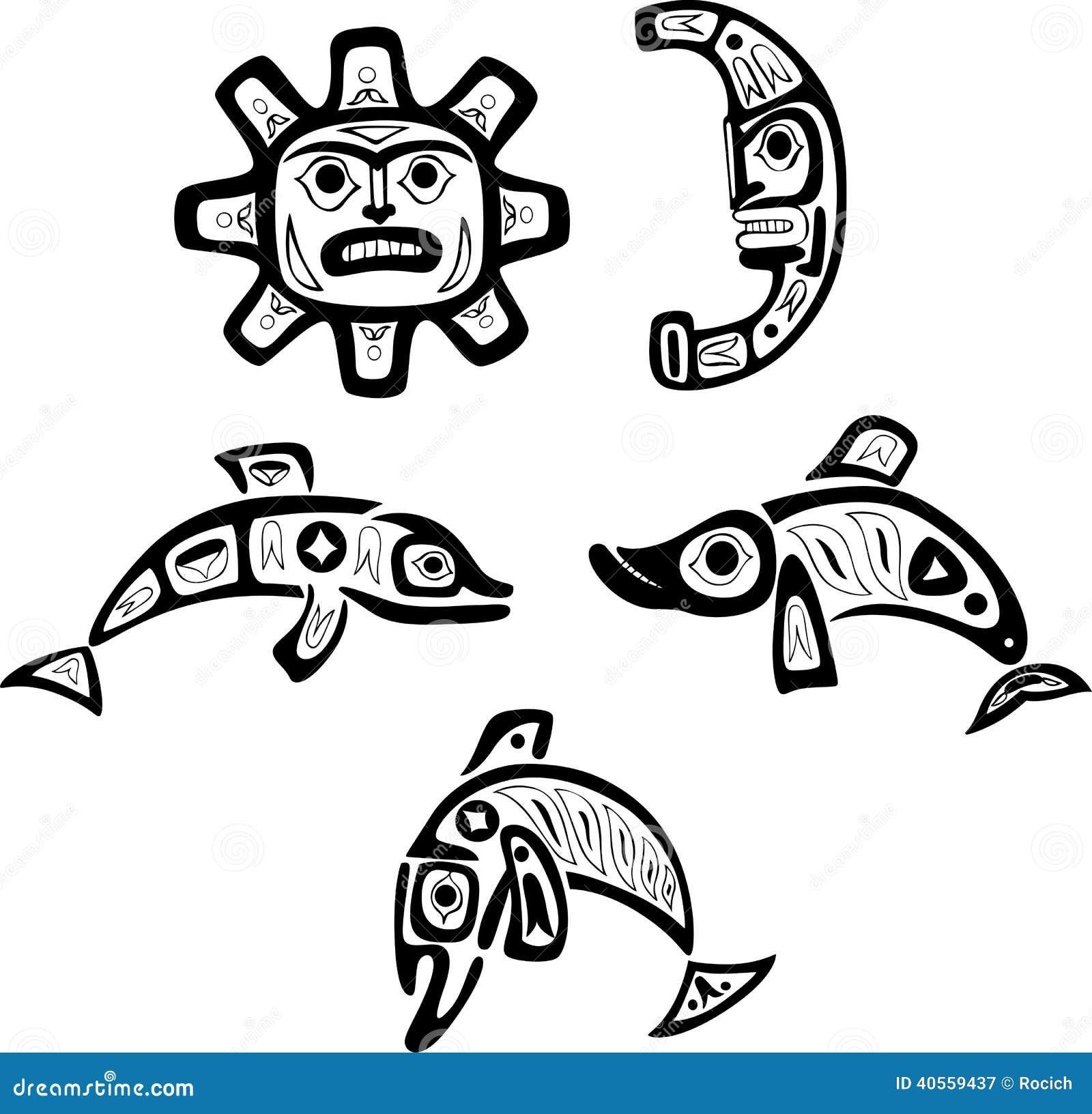 Dibujos Tribales Del Shoshone Nativo Pescados Sol Luna Ilustración