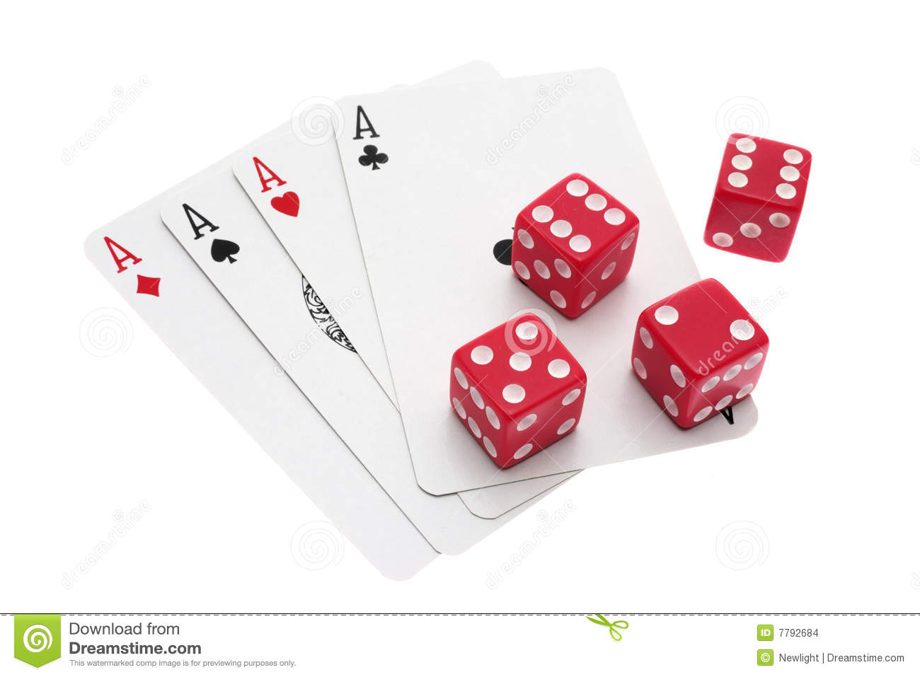 dice and ace cards stock images