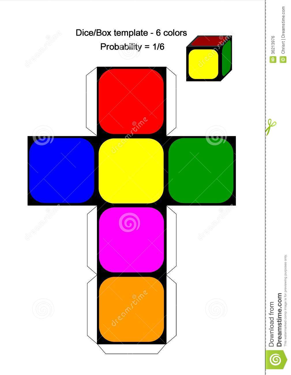 Colored Marbles For Probability Lesson : Dice box template colors stock illustration