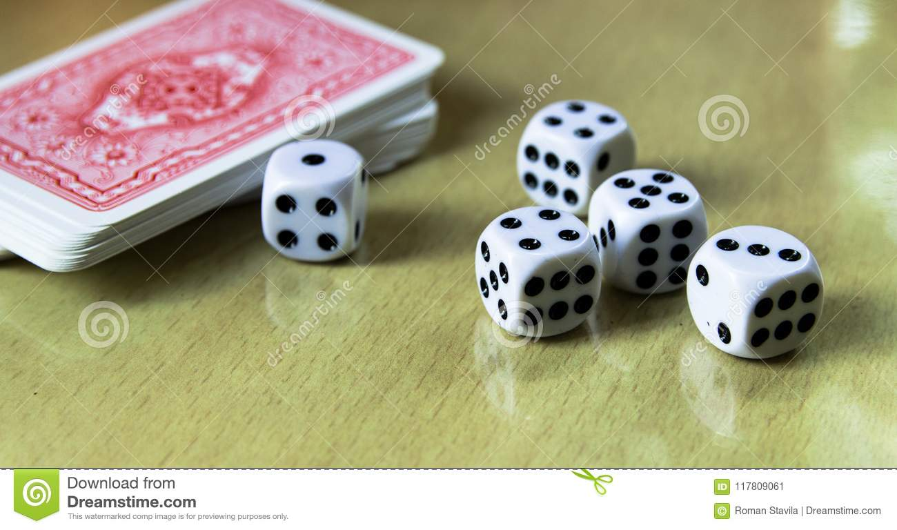 Dice, Coins And Playing Cards  Stock Image - Image of