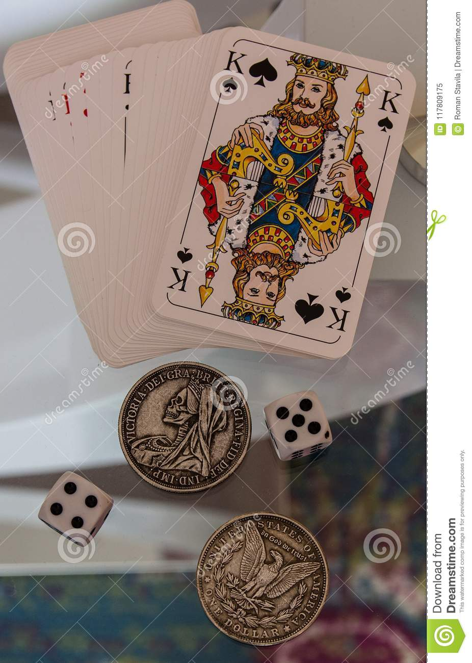 Dice, Coins And Playing Cards  Stock Image - Image of euro
