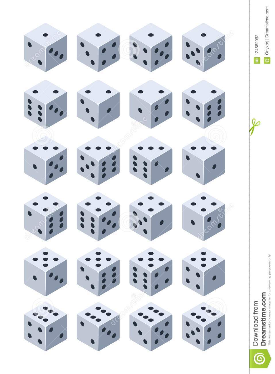 Dice for play. Various isometric 3d pictures of dice for games