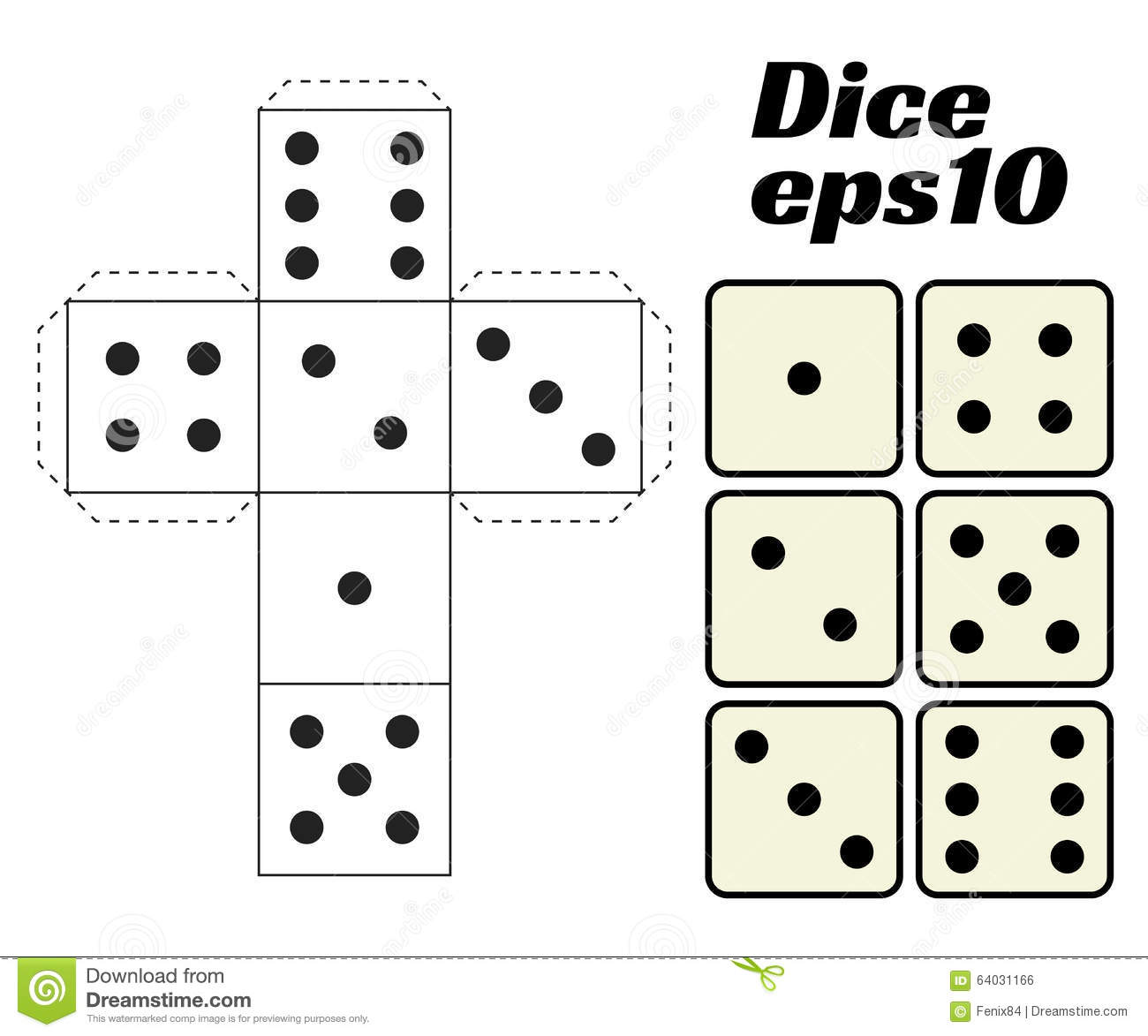 photo regarding Printable Dice known as Cube Fastened. Printable Template. Inventory Vector - Example of