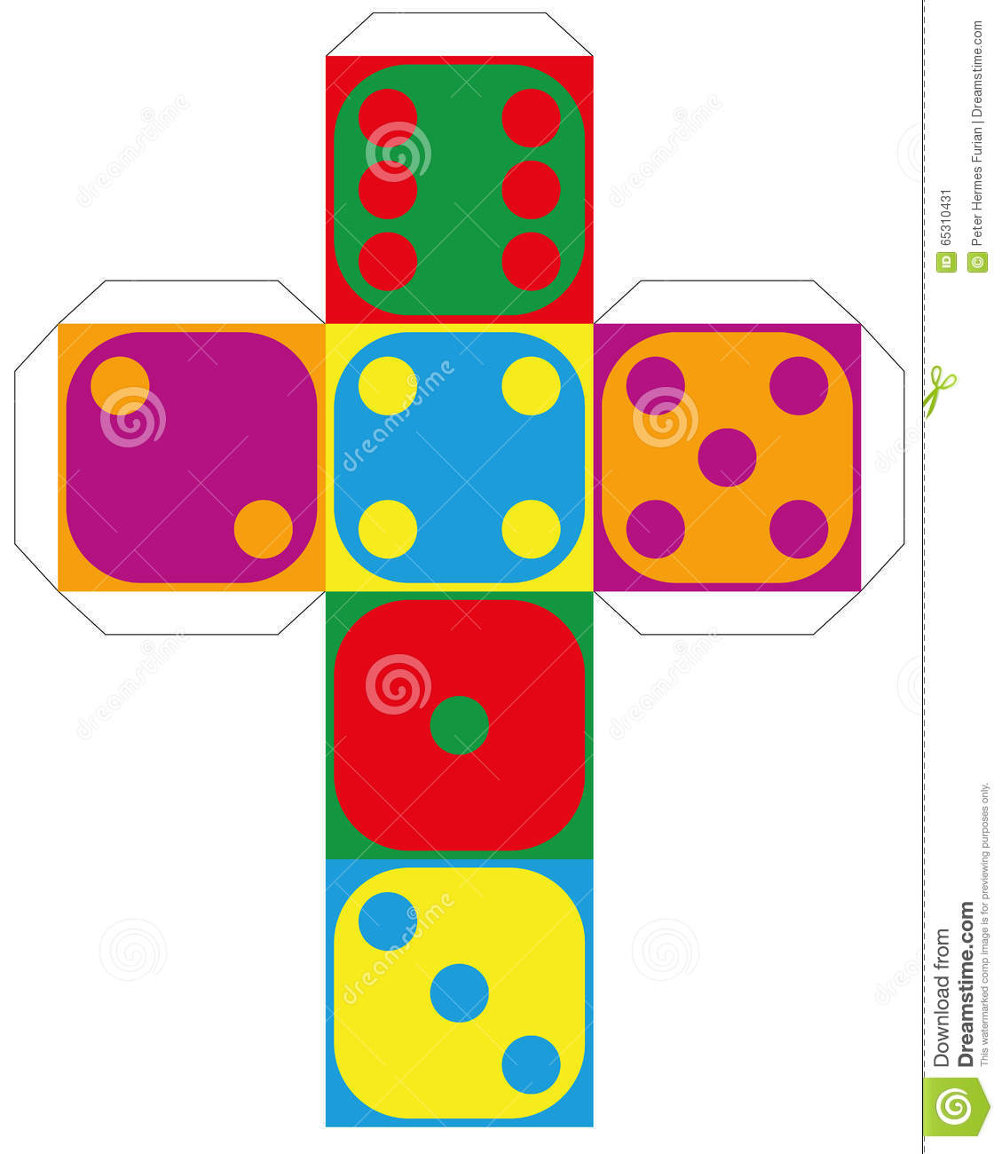 3 dimensional cube template - dice template colorful six sided stock vector