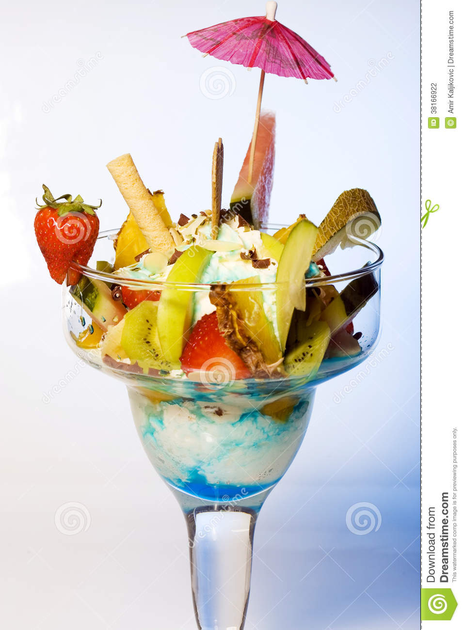 Diced Tropical Fruit With Frozen Ice Cream Stock Photo ...