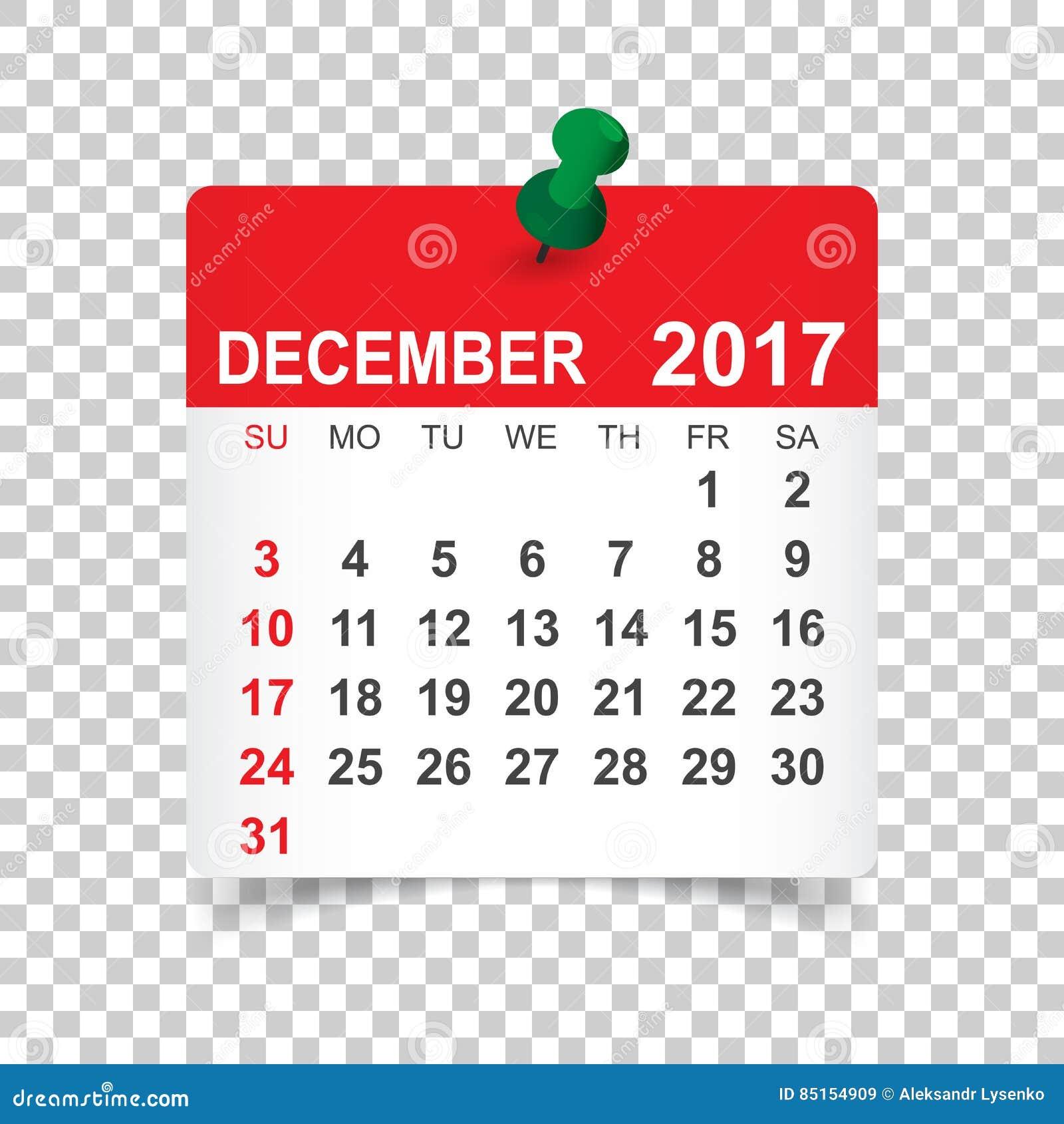 Dicembre 2017 calendario