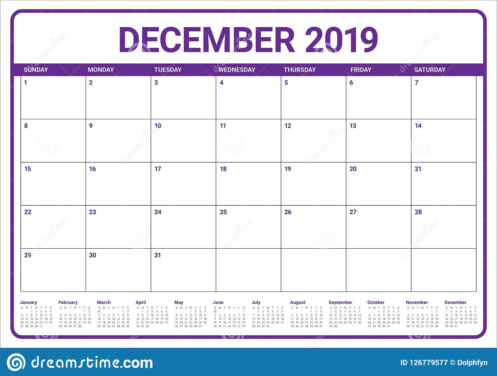 Calendario Mese Dicembre 2019.Dicembre 2019 Illustrazione Di Vettore Del Calendario Da
