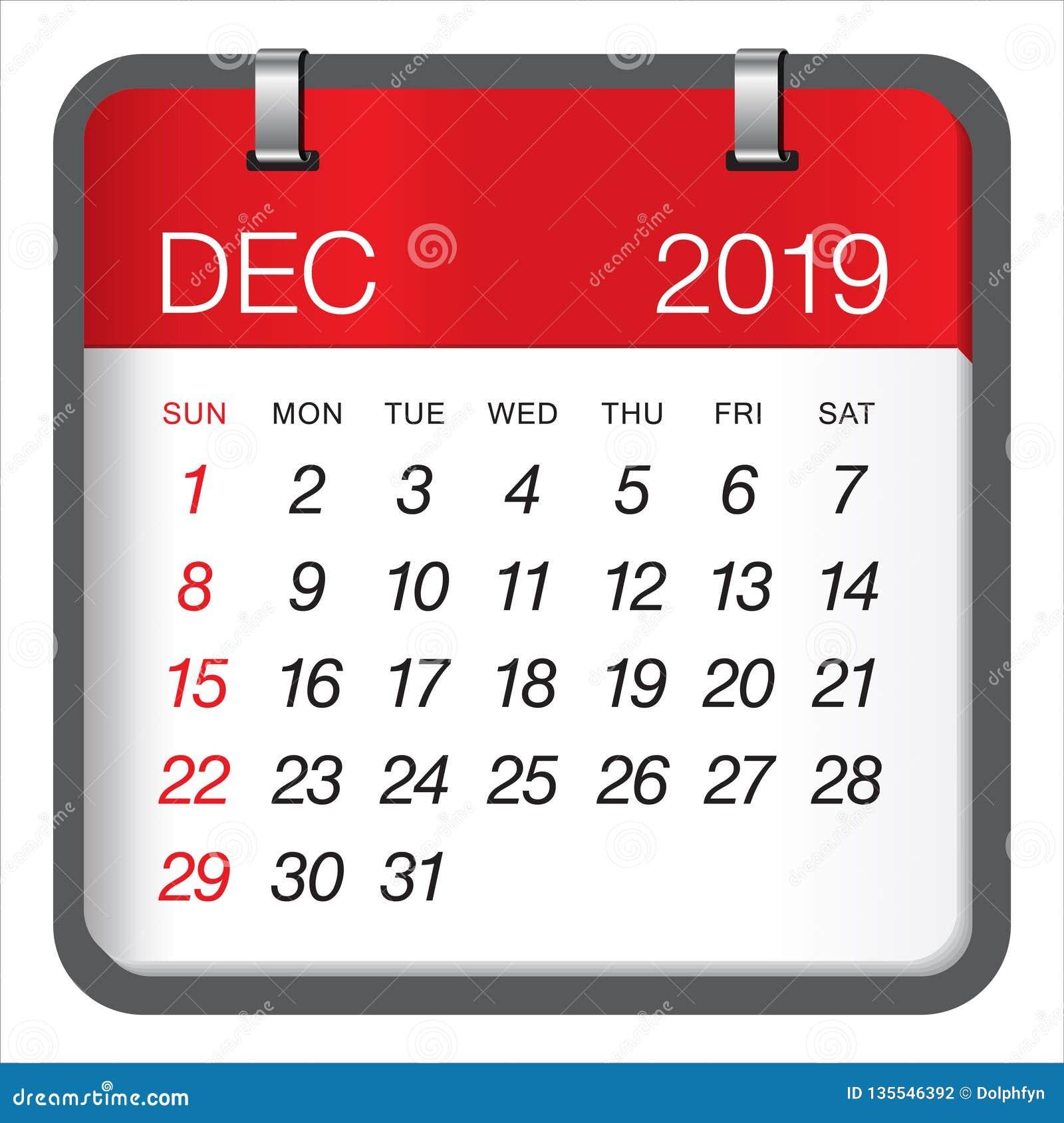 Calendario Mese Dicembre 2019.Dicembre 2019 Illustrazione Mensile Di Vettore Del