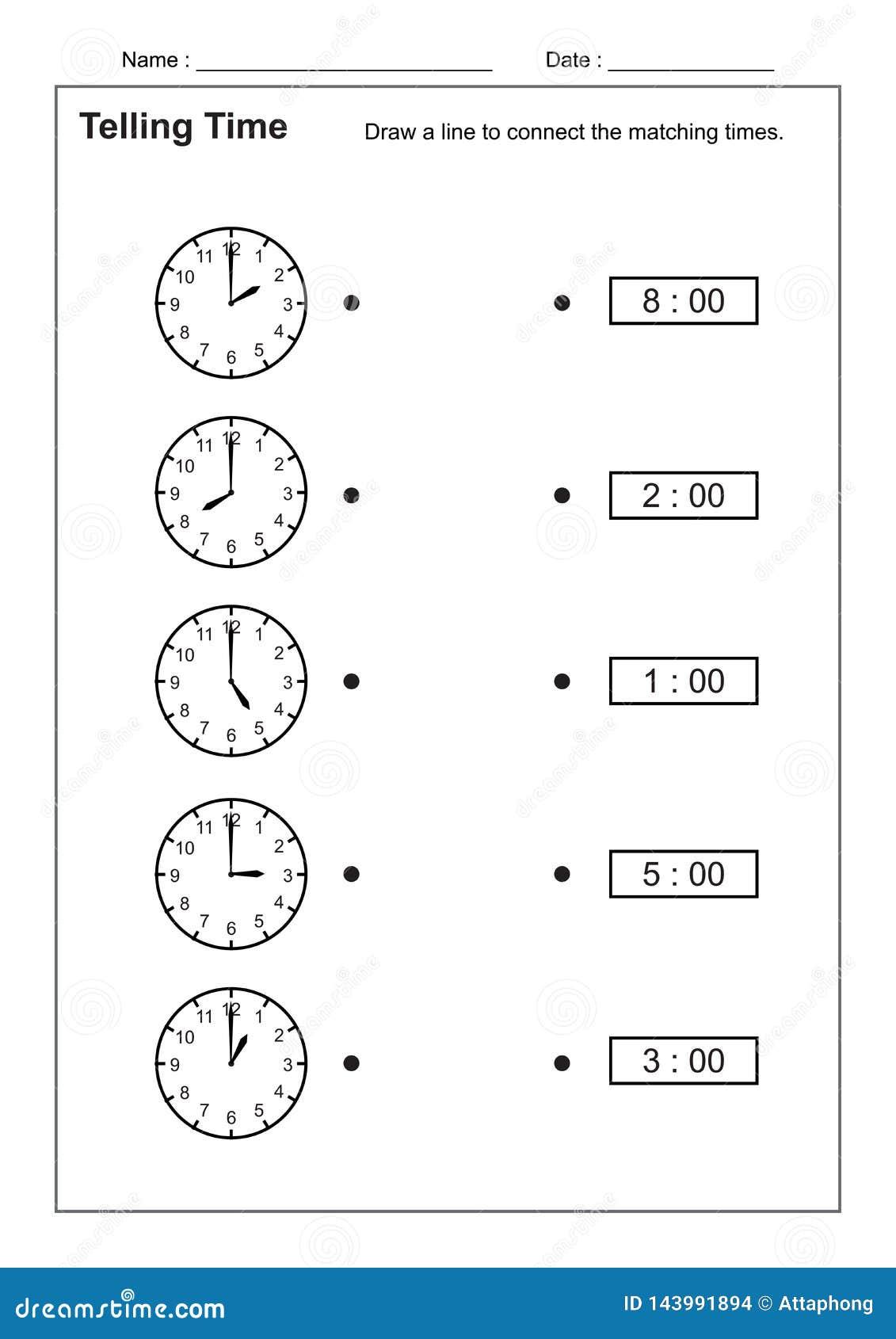Dicendo il tempo che dice la pratica di tempo per i bambini cronometri i fogli di lavoro affinchè imparare dicano i fogli di lavo