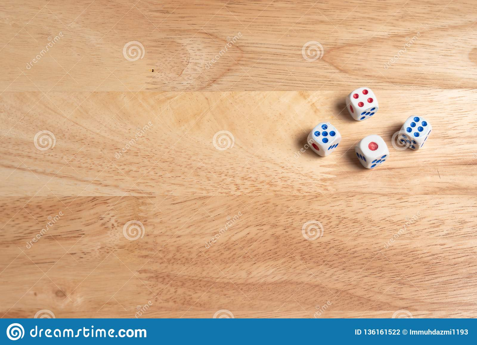 dices on wooden surface