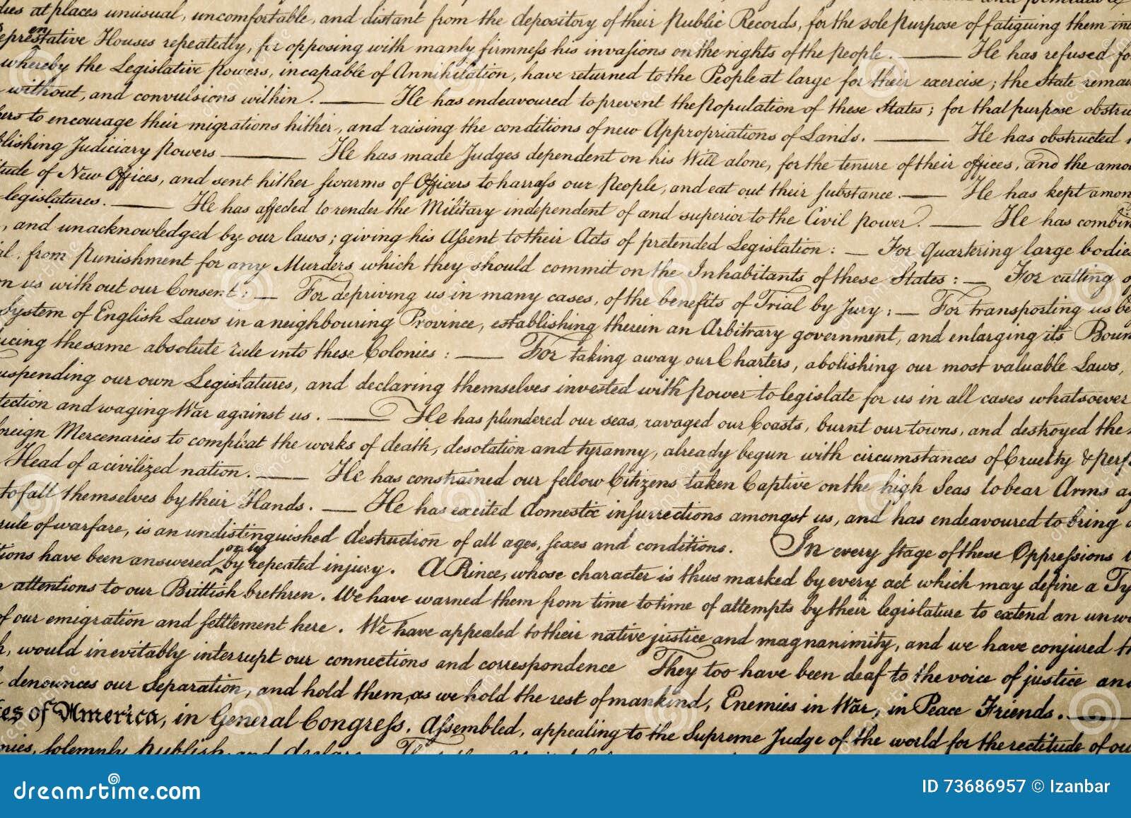 Dichiarazione di indipendenza fine del 4 luglio 1776 su
