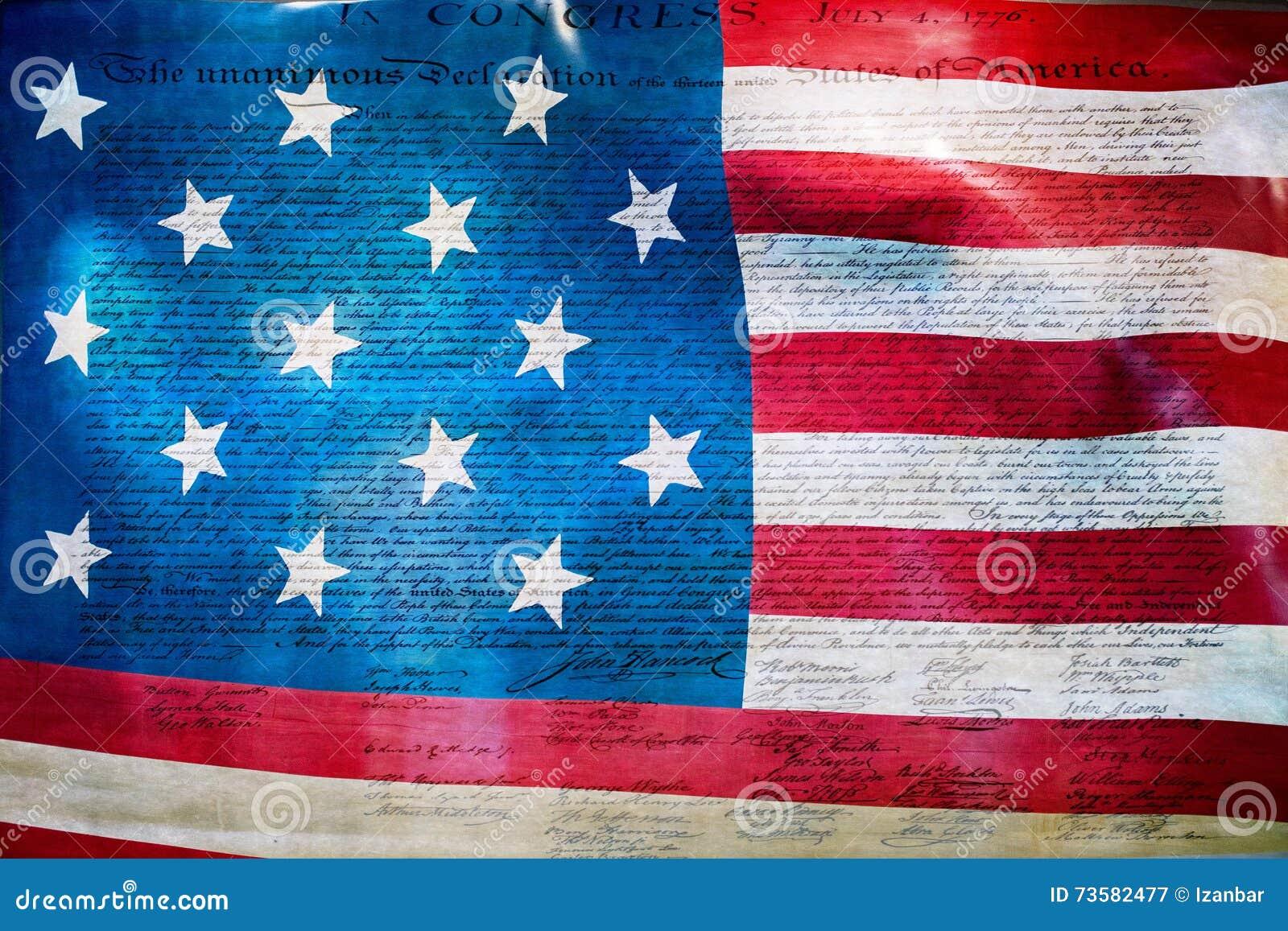 Dichiarazione di indipendenza 4 luglio 1776 sulla bandiera degli S.U.A.