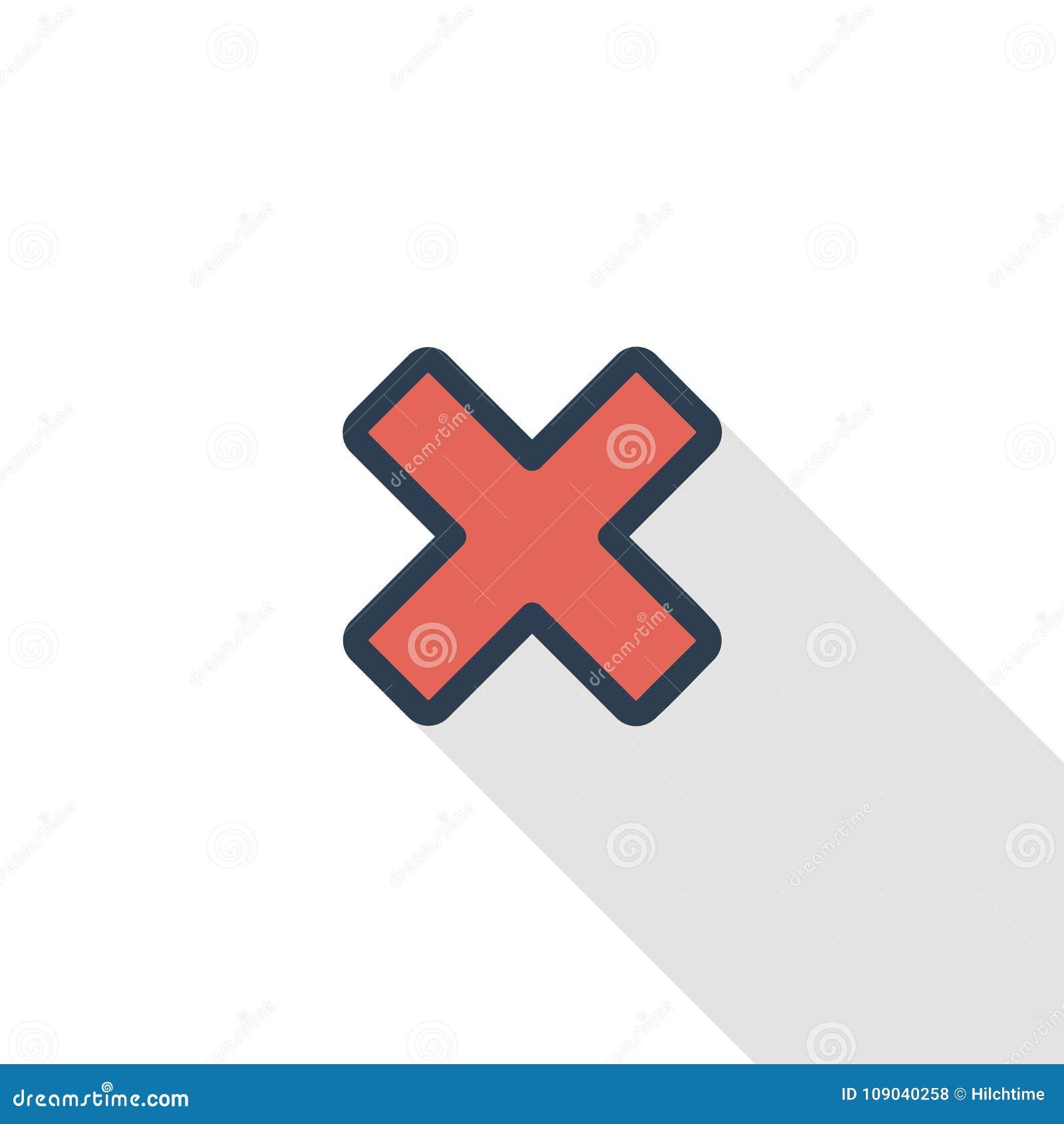 Dicht, annuleer, ontruim het dunne pictogram van de lijn vlakke kleur Lineair vectorsymbool Kleurrijk lang schaduwontwerp
