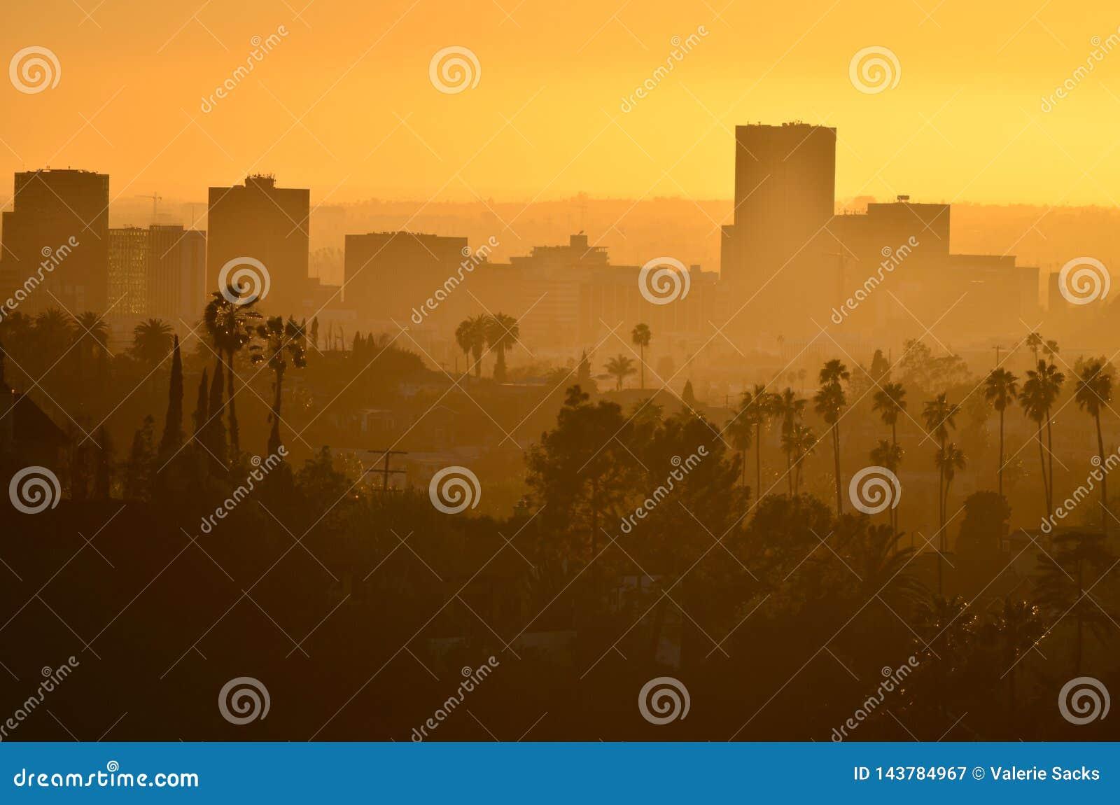 Dichtbij Los Angeles Van de binnenstad bij Zonsondergangweergeven van Hemels Park