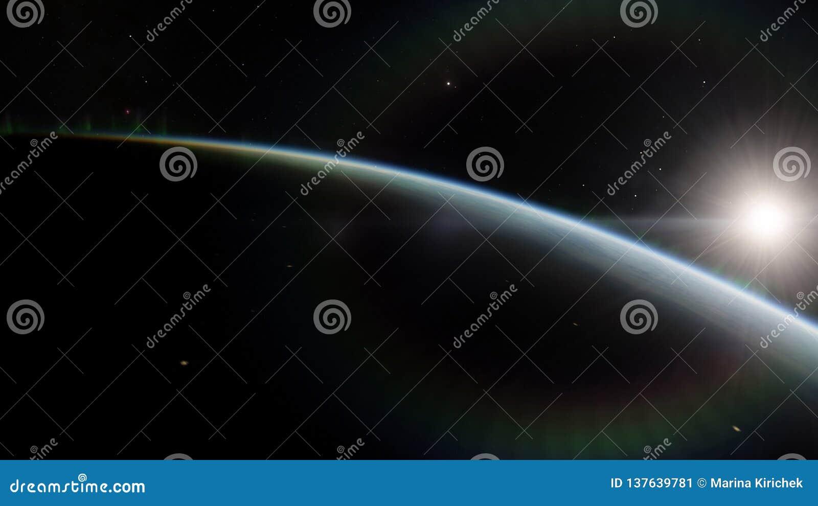 Dichtbij, satelliet met lage omloopbaan blauwe planeet Dit die beeldelementen door NASA worden geleverd