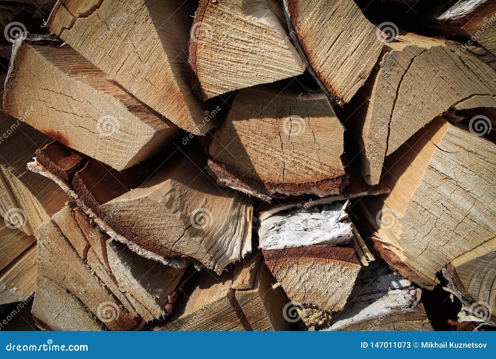 Dichte mening van houten stralen, brandhoutachtergrond