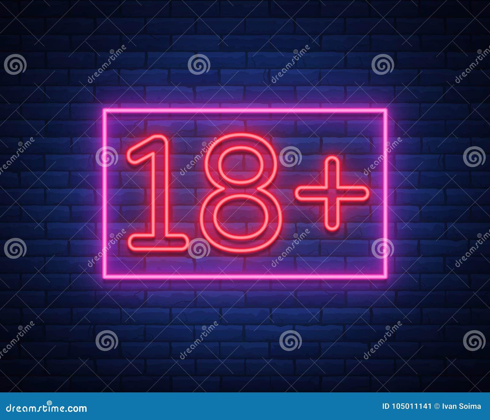 Diciotto più, limite di età, firmano dentro lo stile al neon Soltanto per gli adulti Insegna al neon luminosa di notte, simbolo 1