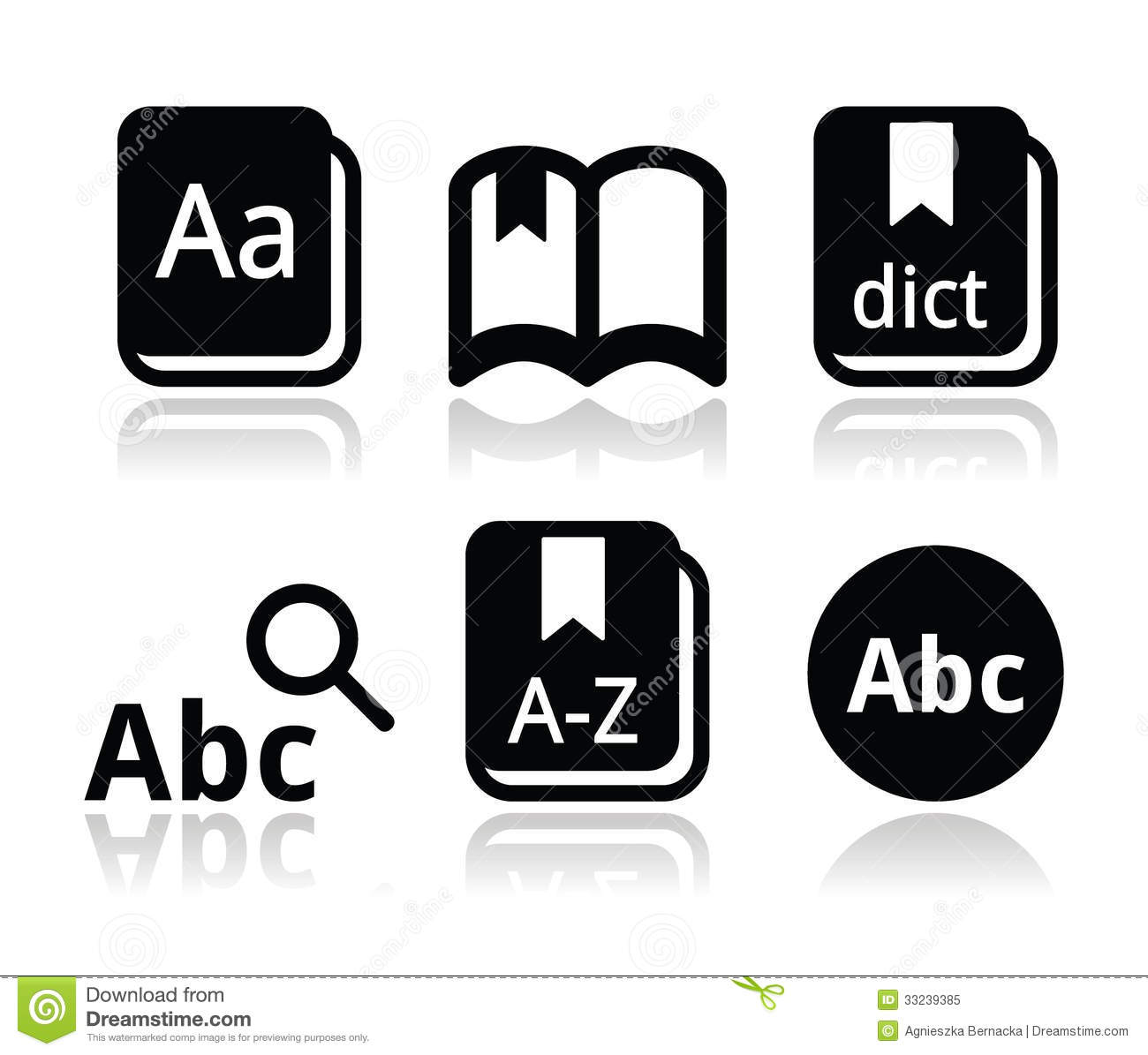 Dictionary Book Icons Set Royalty Free Stock Photo Image