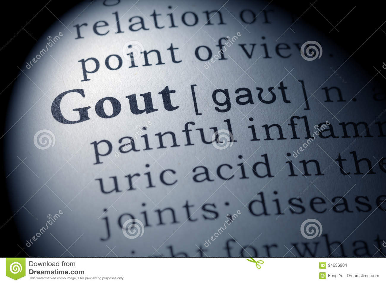 dictionary definition of gout stock photo - image of dictionary