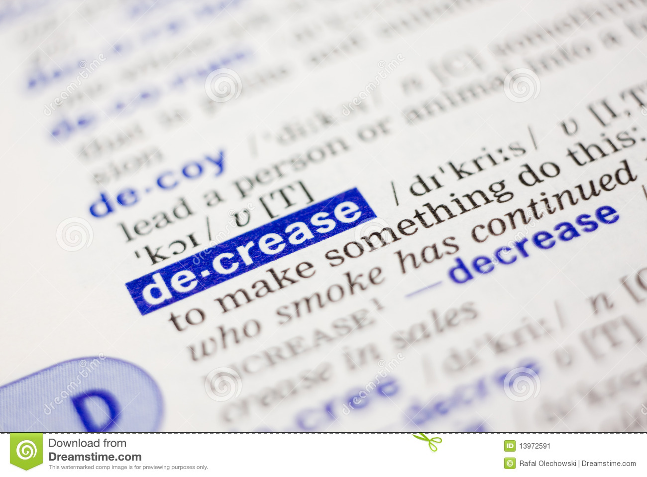 Dictionary definition of word decrease in blue