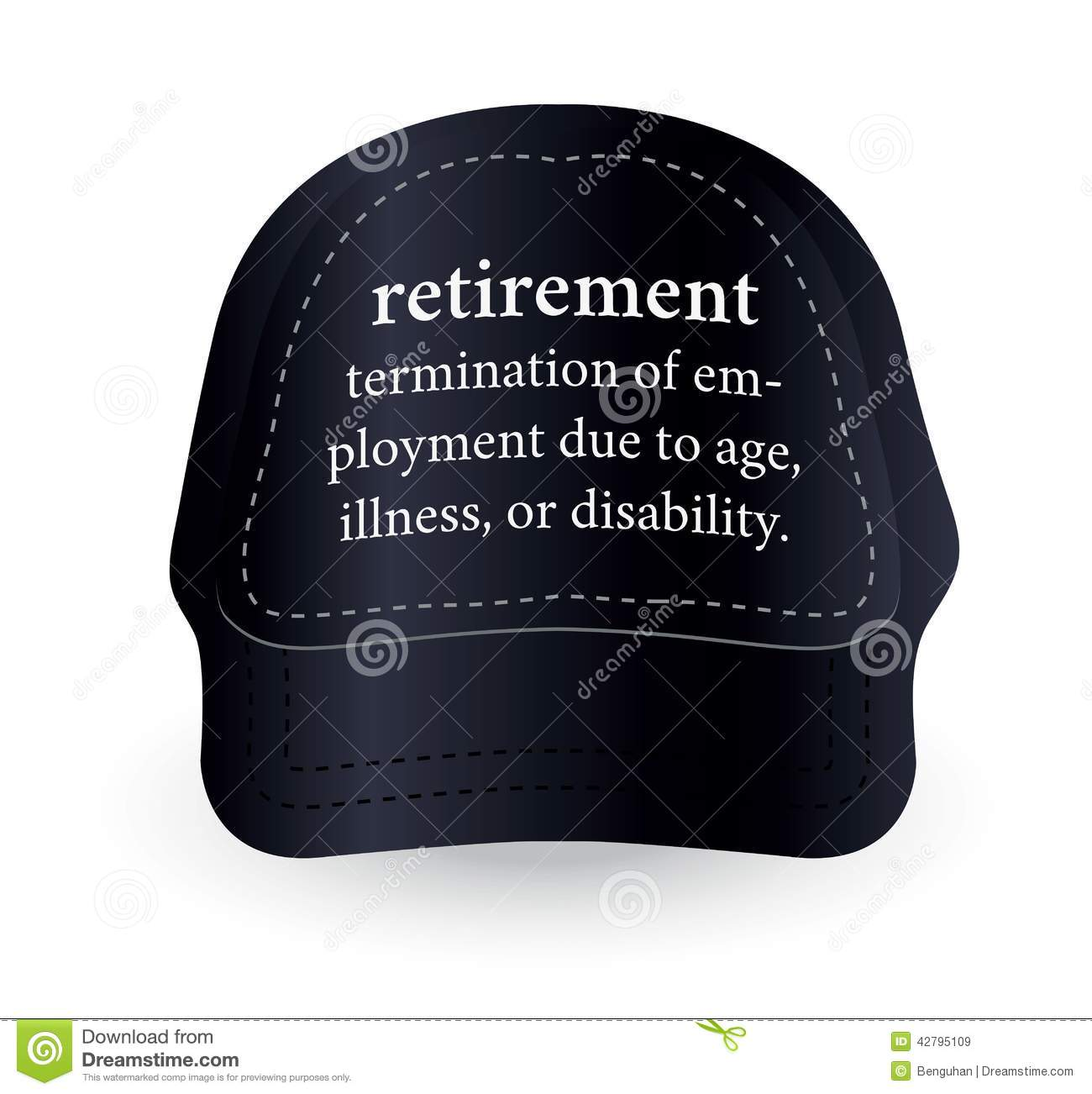 dictionary word of retirement on baseball cap stock illustration