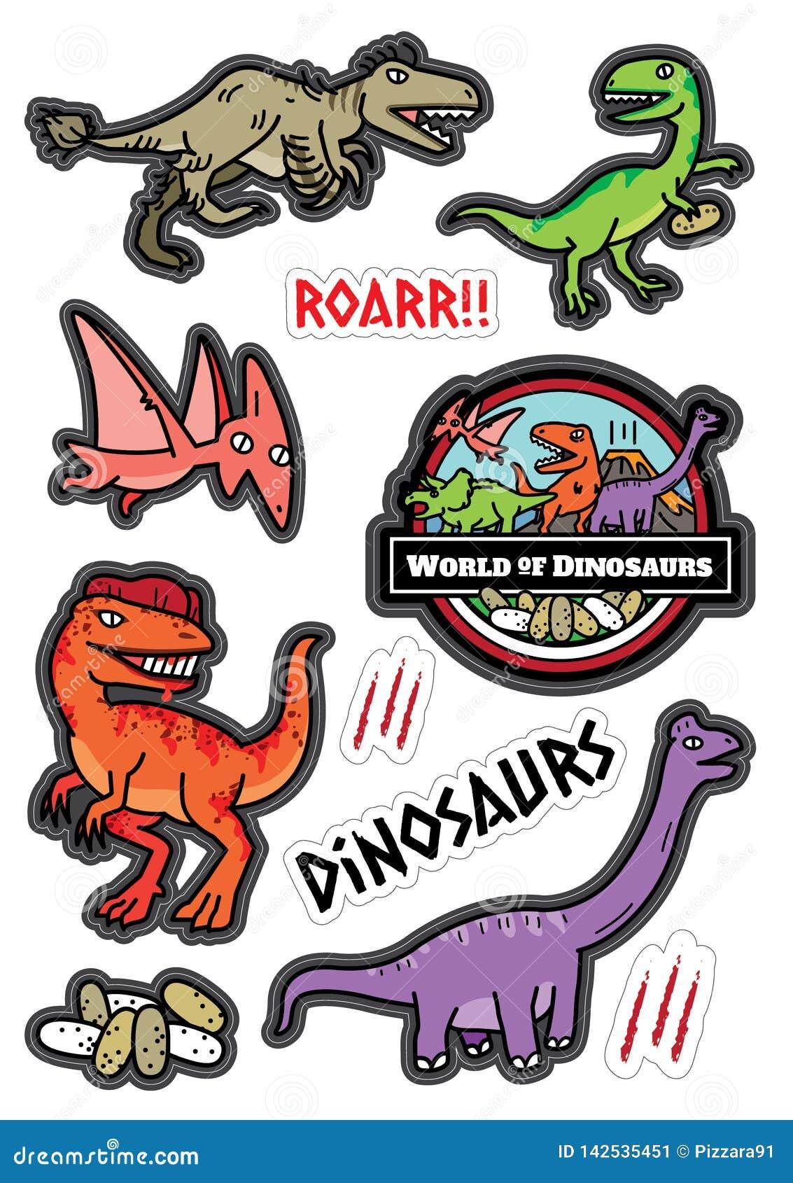 Dicut d autocollant de conception de caractères de dinosaures