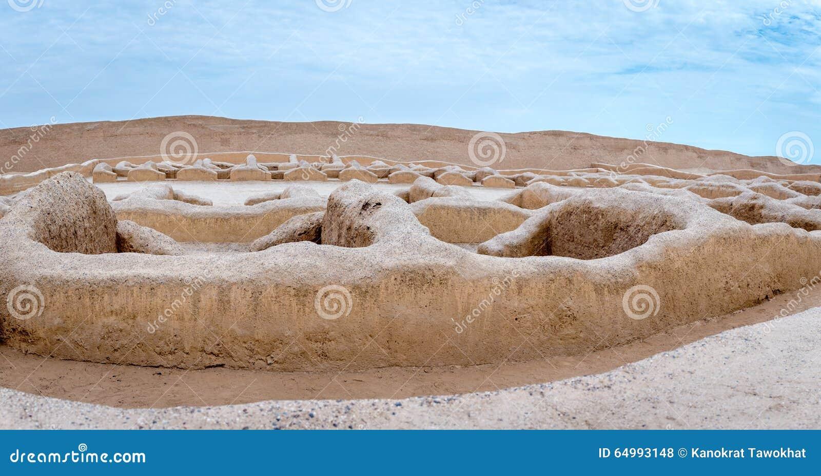 Die alten Ruinen von Chan Chan in Peru
