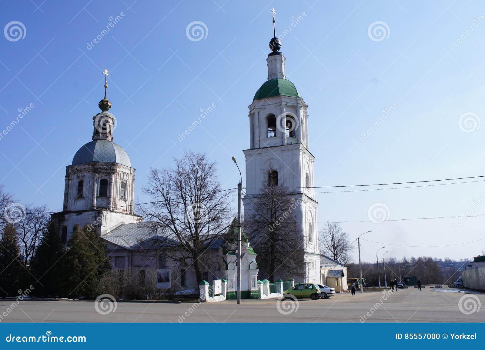 Die Ansicht des zentralen Platzes der provinziellen Stadt von Zaraysk, Moskau-Region