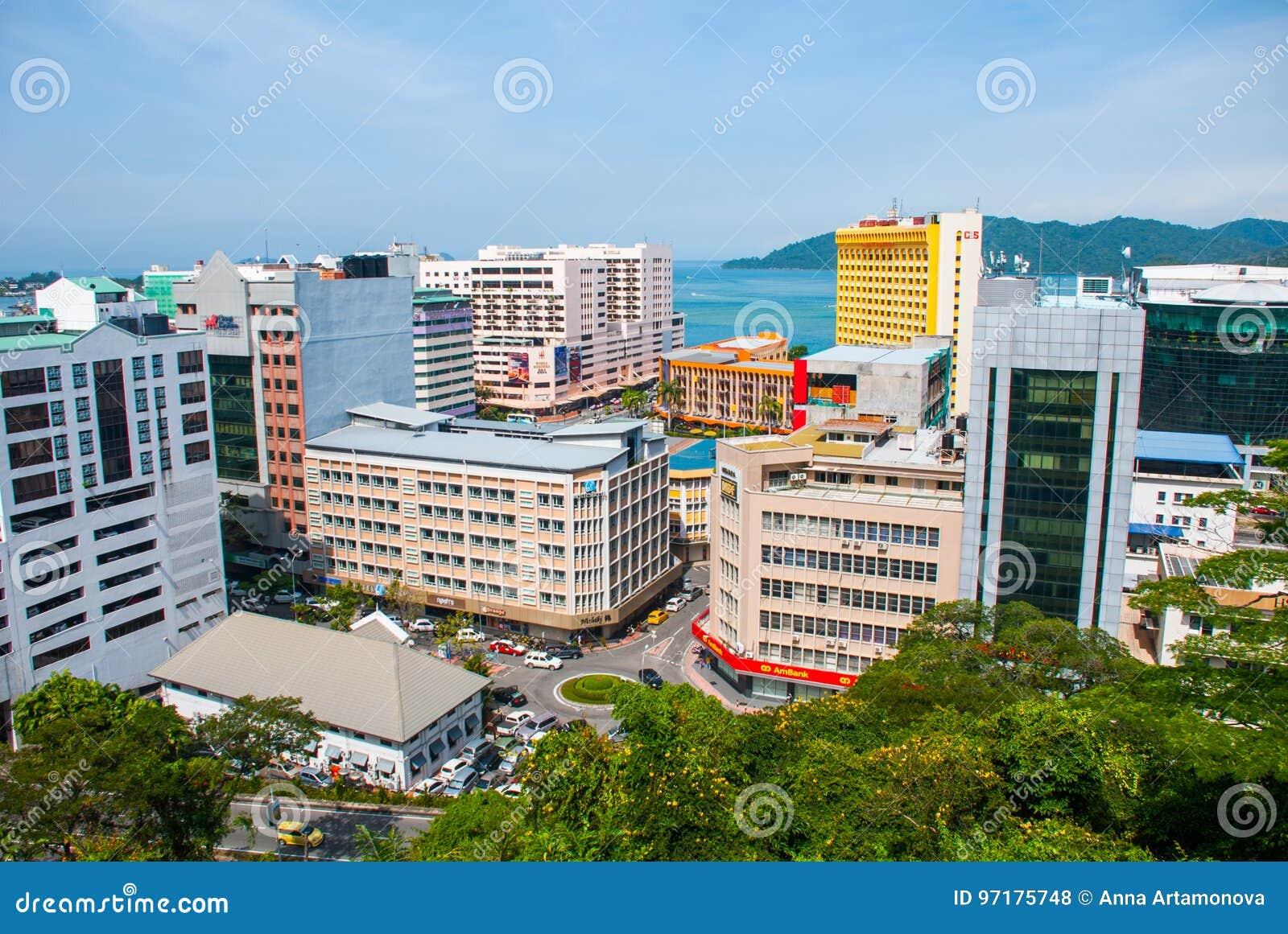 Die Ansicht Von Der Spitze Der Wolkenkratzer Kota Kinabalu Sabah