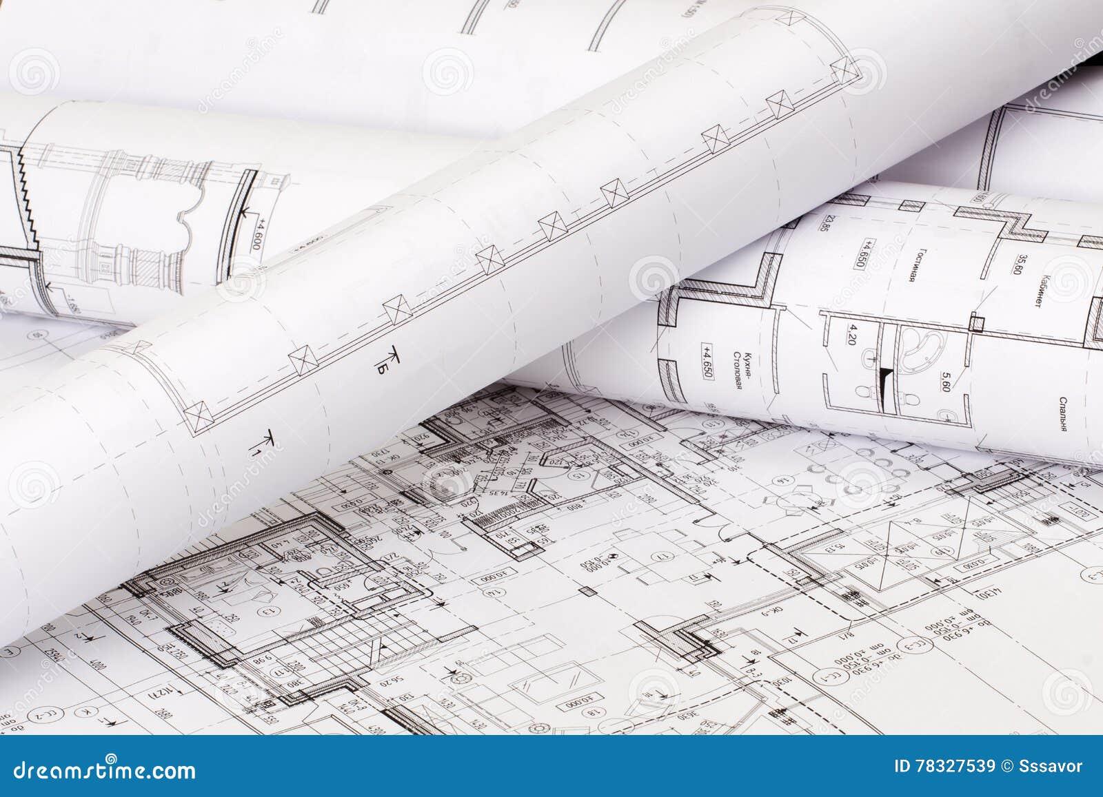 Die Architektonische Gestaltung Des Hauses Auf Papier Stockbild ...