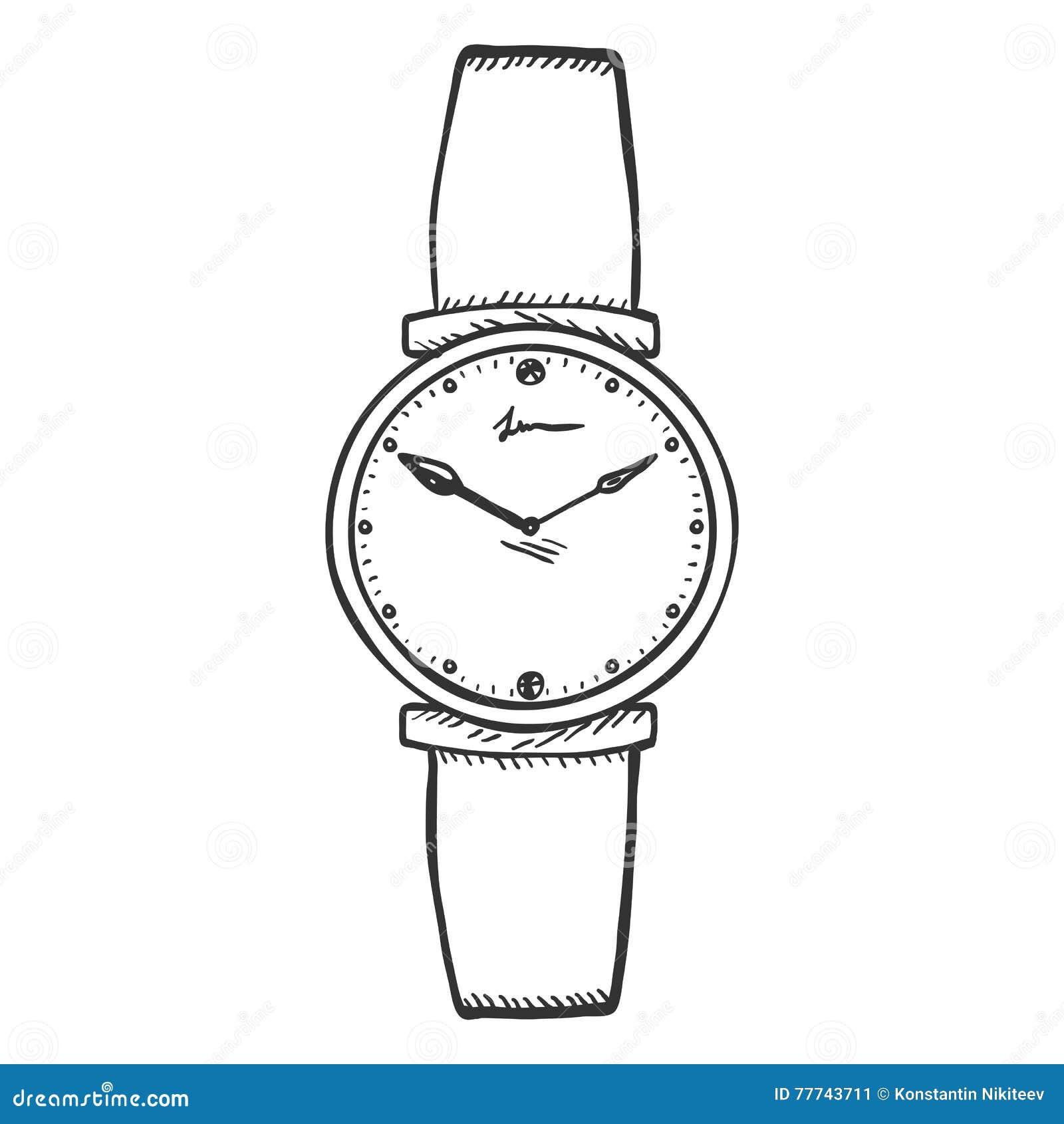 Armbanduhr skizze  Die Armbanduhr Der Vektor-Skizzen-Frauen Stock Abbildung - Bild ...