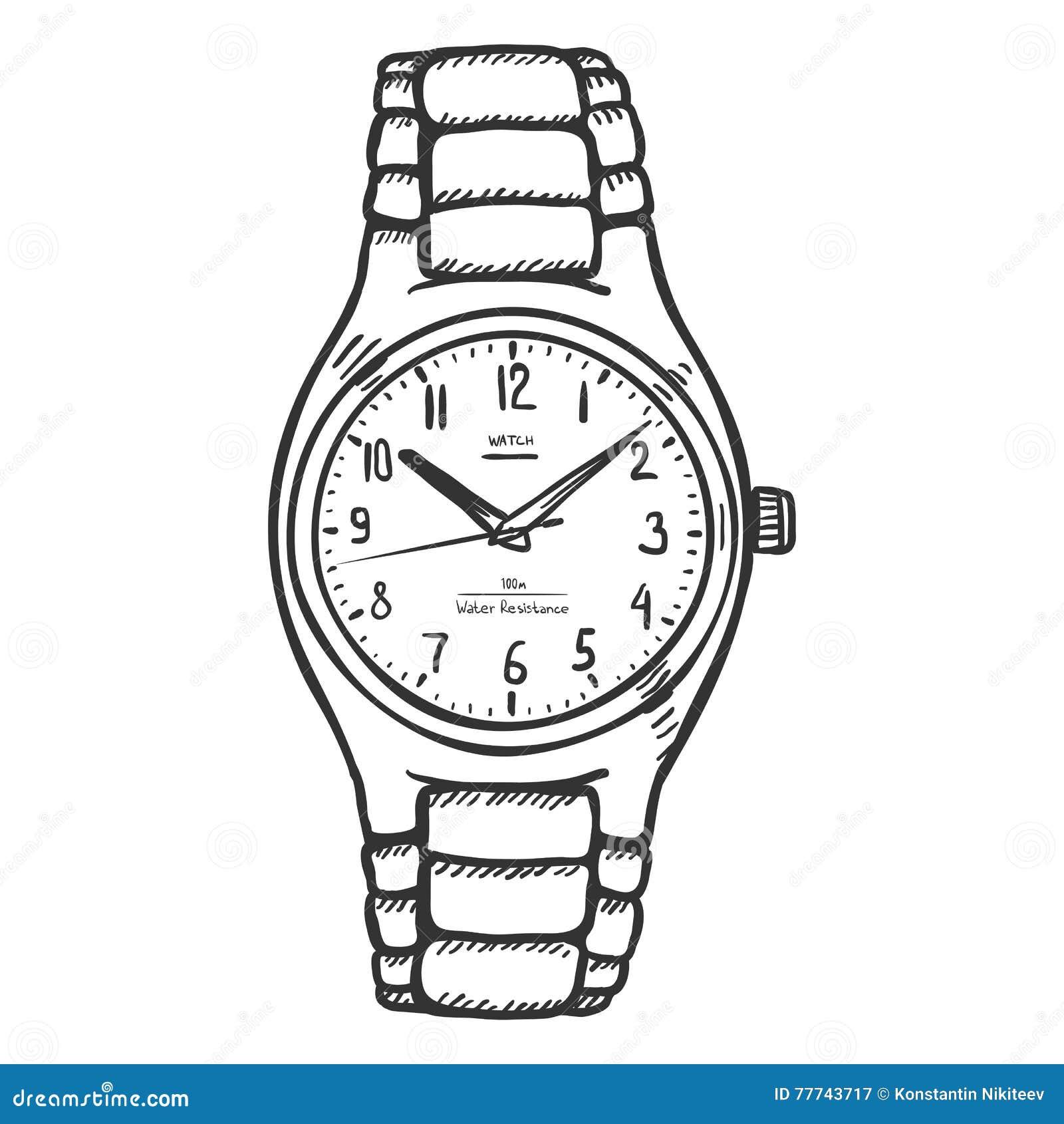 Armbanduhr skizze  Die Armbanduhr Der Vektor-Skizzen-klassischen Männer Stock ...