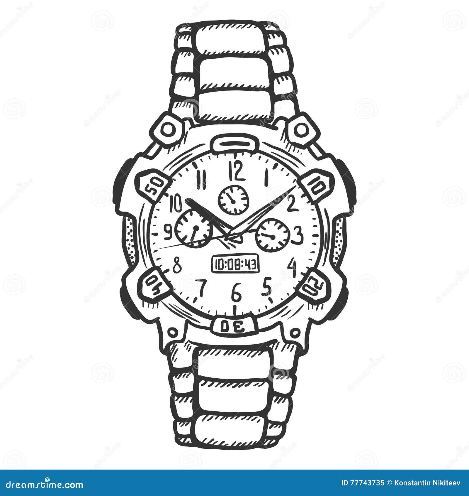 Armbanduhr skizze  Die Armbanduhr Der Vektor-Skizzen-modernen Männer Stock Abbildung ...