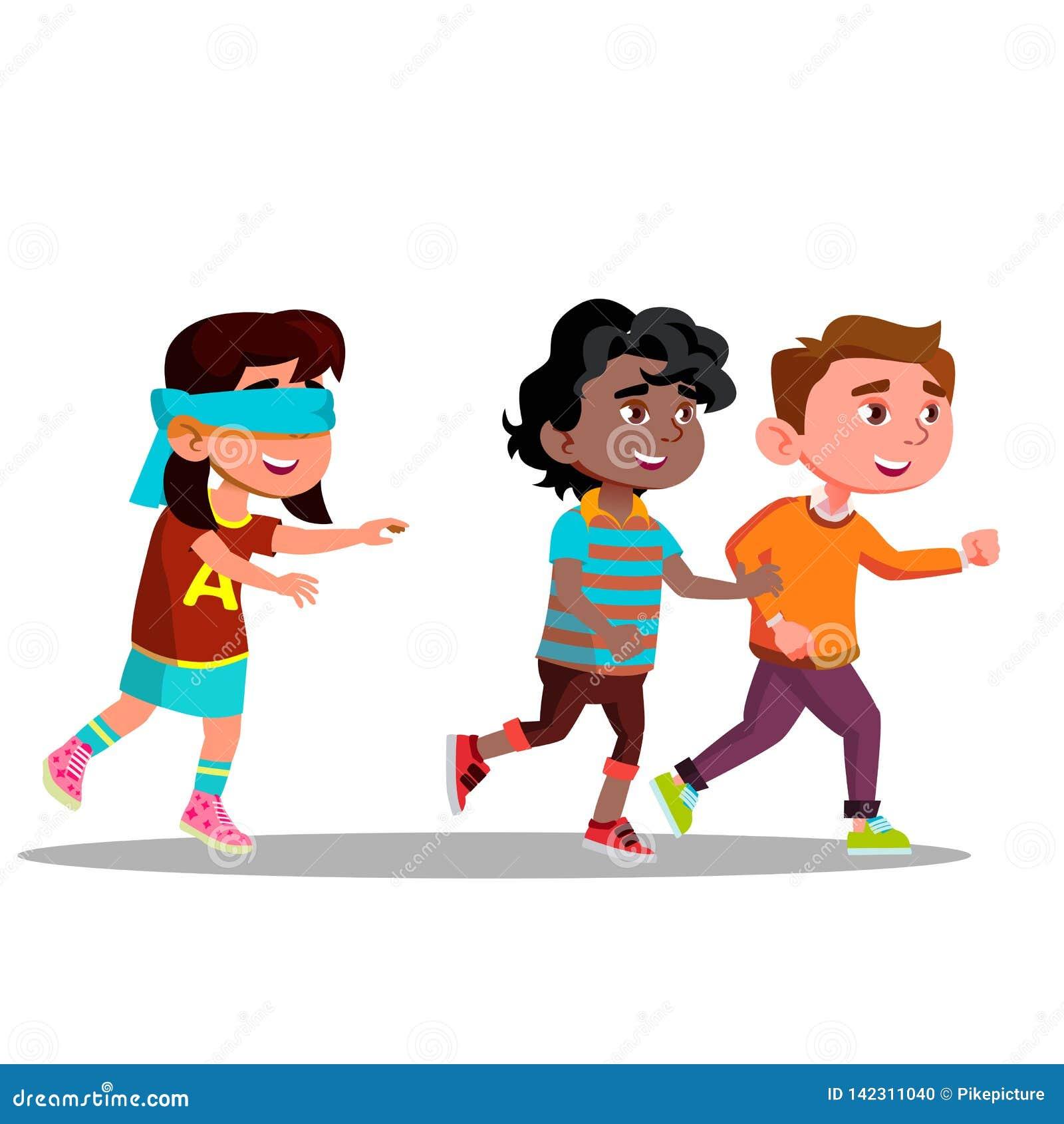 Die Augen verbundenes Mädchen mit den Armen streckte das Suchen von den Freunden aus, die weg Vektor-flache Karikatur-Illustratio