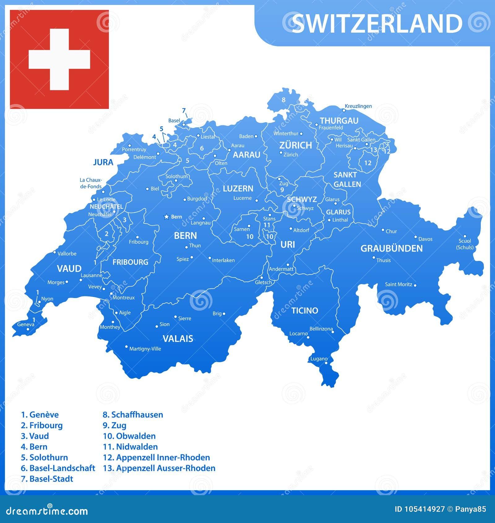 Die Ausfuhrliche Karte Der Schweiz Mit Regionen Oder Zustande Und