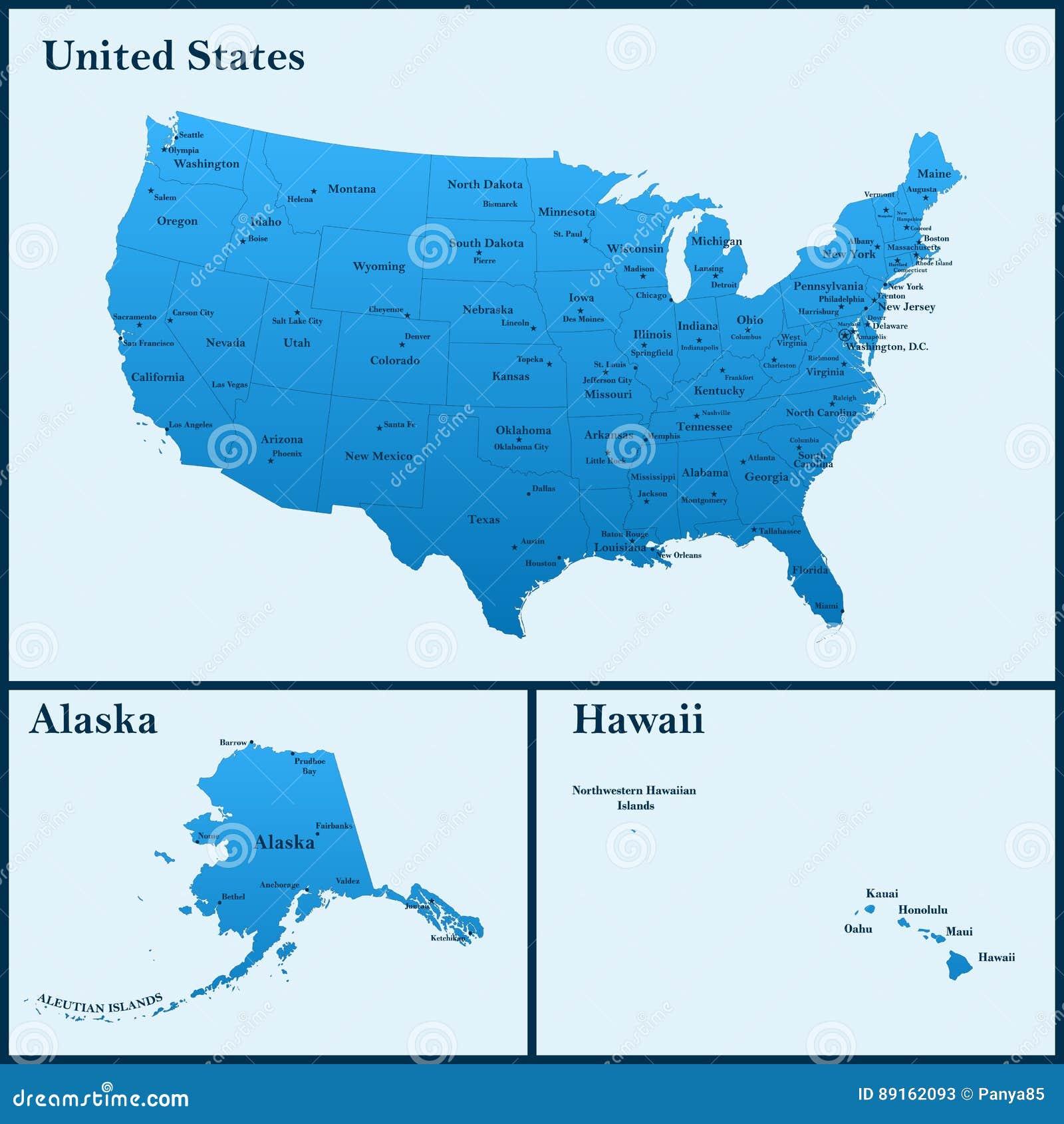 Die Ausfuhrliche Karte Der Usa Einschliesslich Alaska Und Hawaii