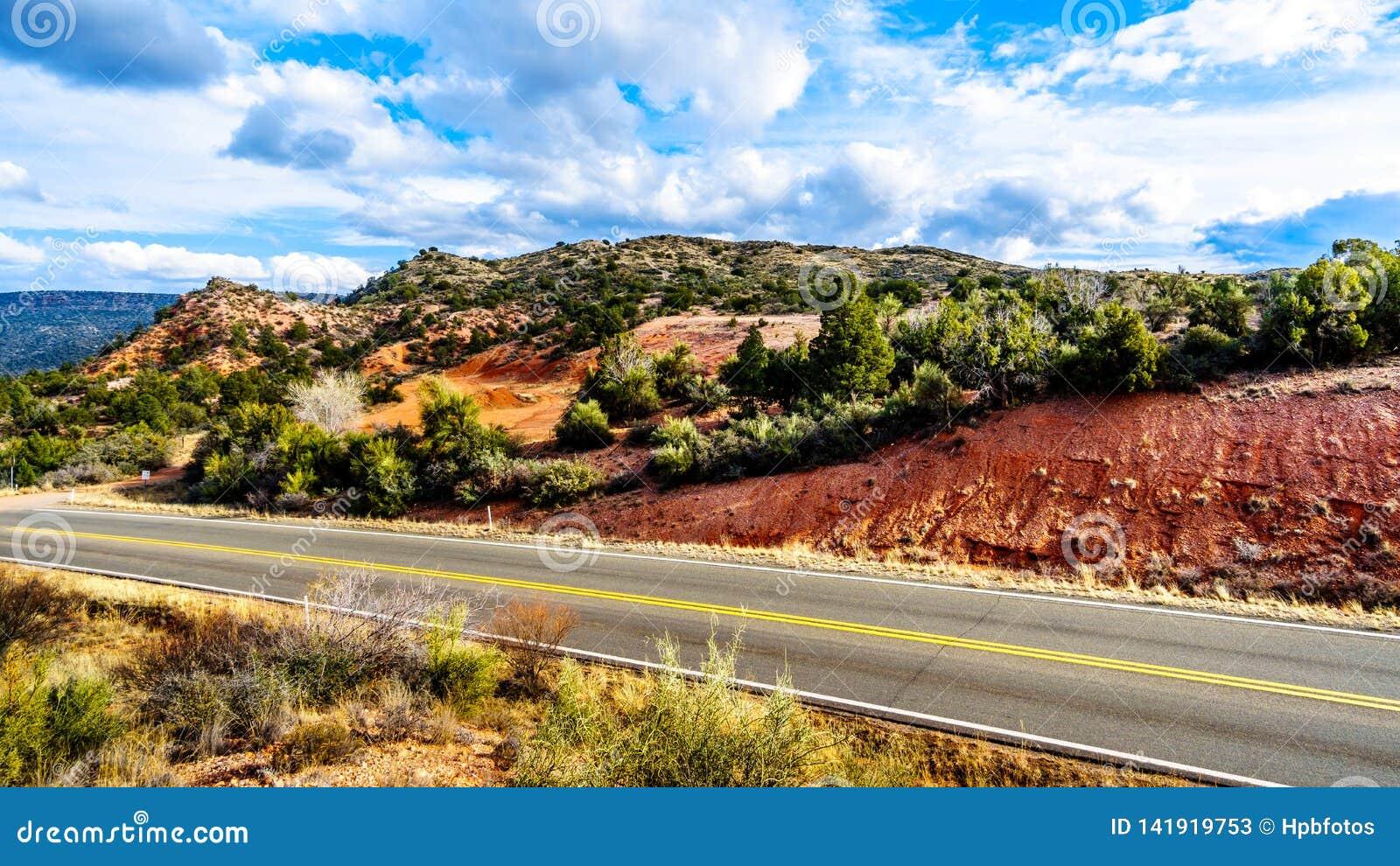 Die Berge mit mannigfaltiger Vegetation im roten Felsenland an der Beaverhead-Ebenen-Straße nahe dem Dorf von Oak Creek