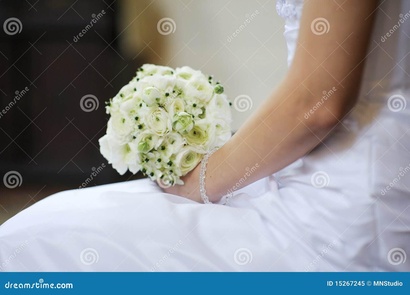 Die Braut Die Schone Hochzeit Anhalt Bluht Blumenstrauss Stockbild