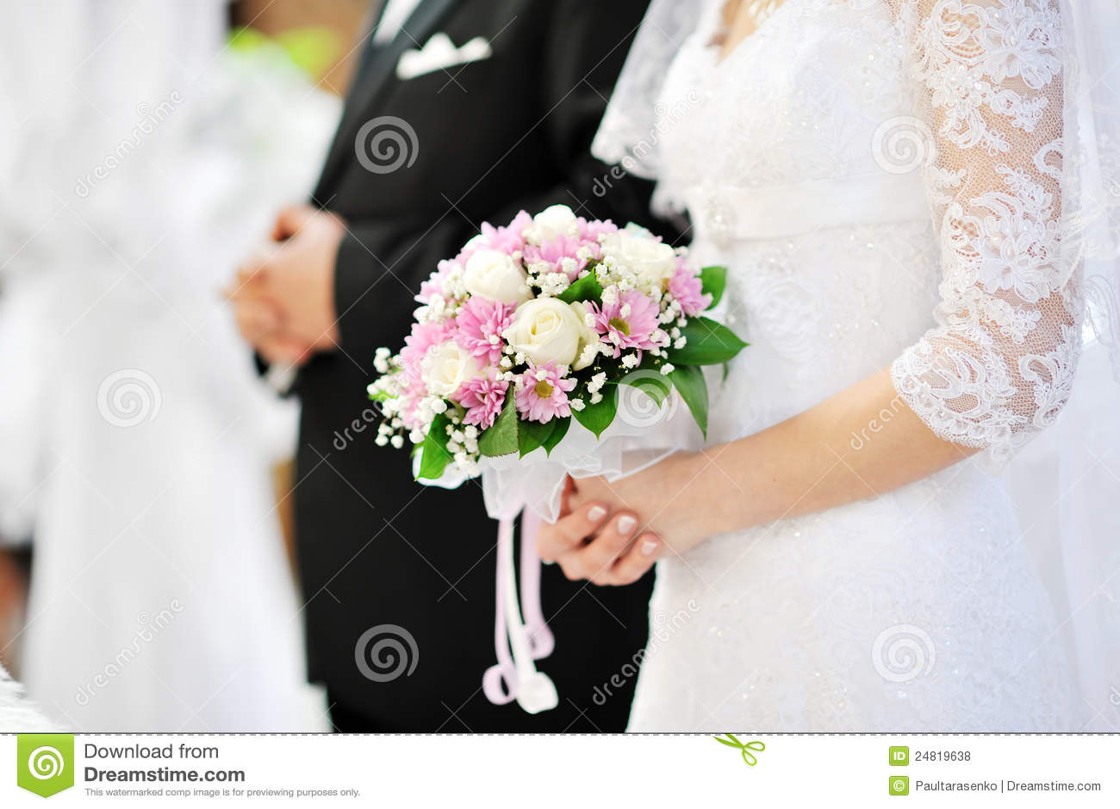 Die Braut Die Schone Hochzeit Anhalt Bluht Blumenstrauss Stockfoto
