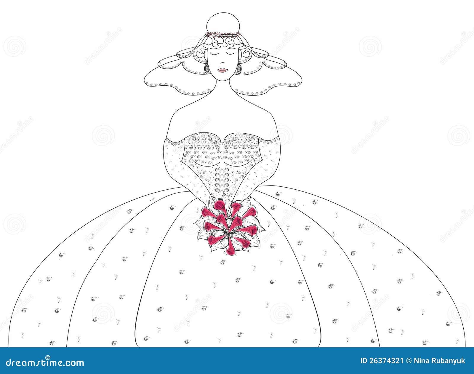Die Braut mit einem Hochzeitsblumenstrauß.