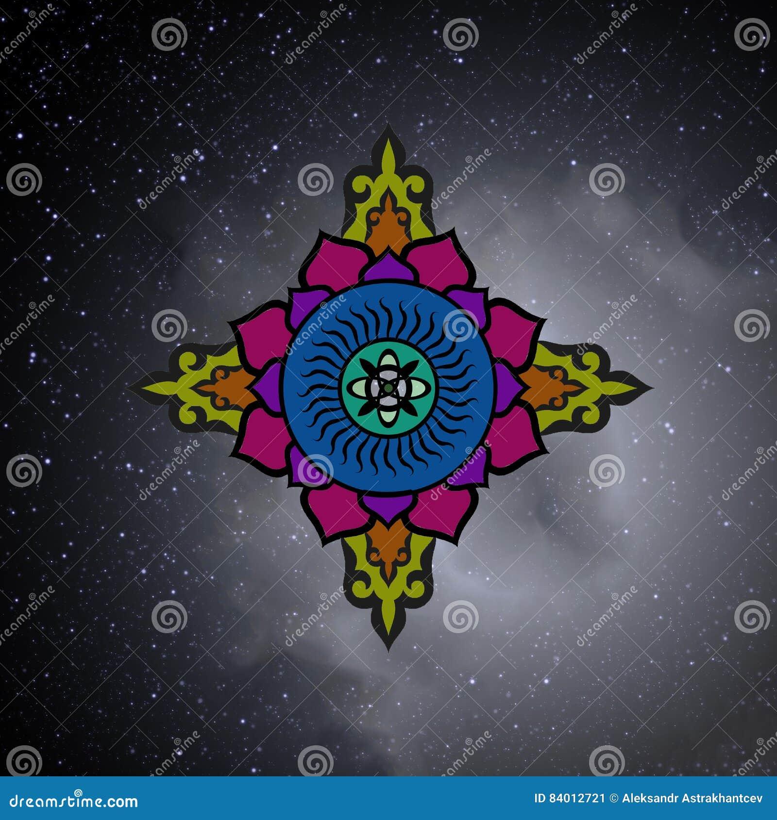 Die buddhistische Mandala im Hintergrund der beträchtlichen Ausdehnungen von t
