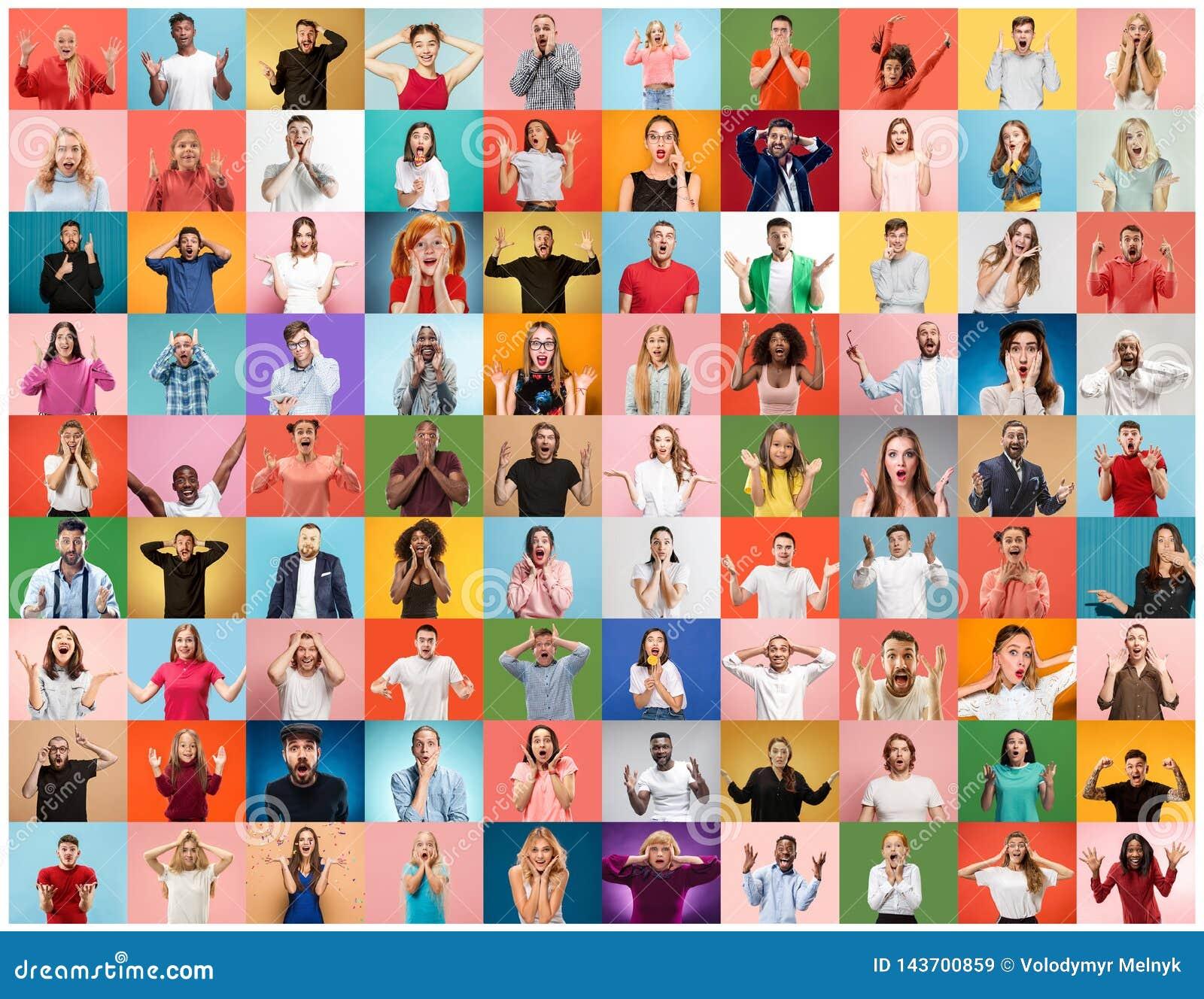 Die Collage von überraschten Leuten