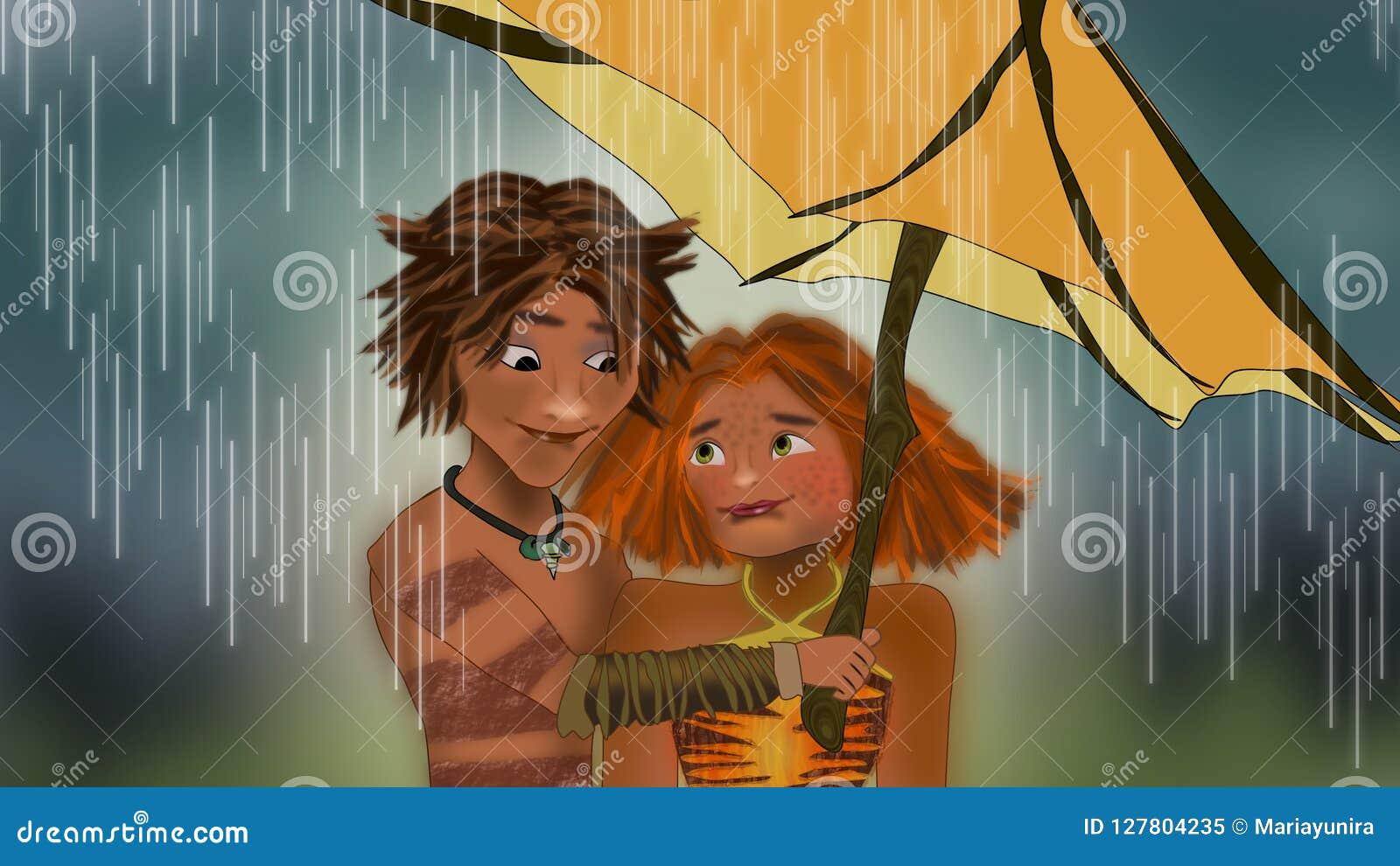 Die croods unter der Regenszene