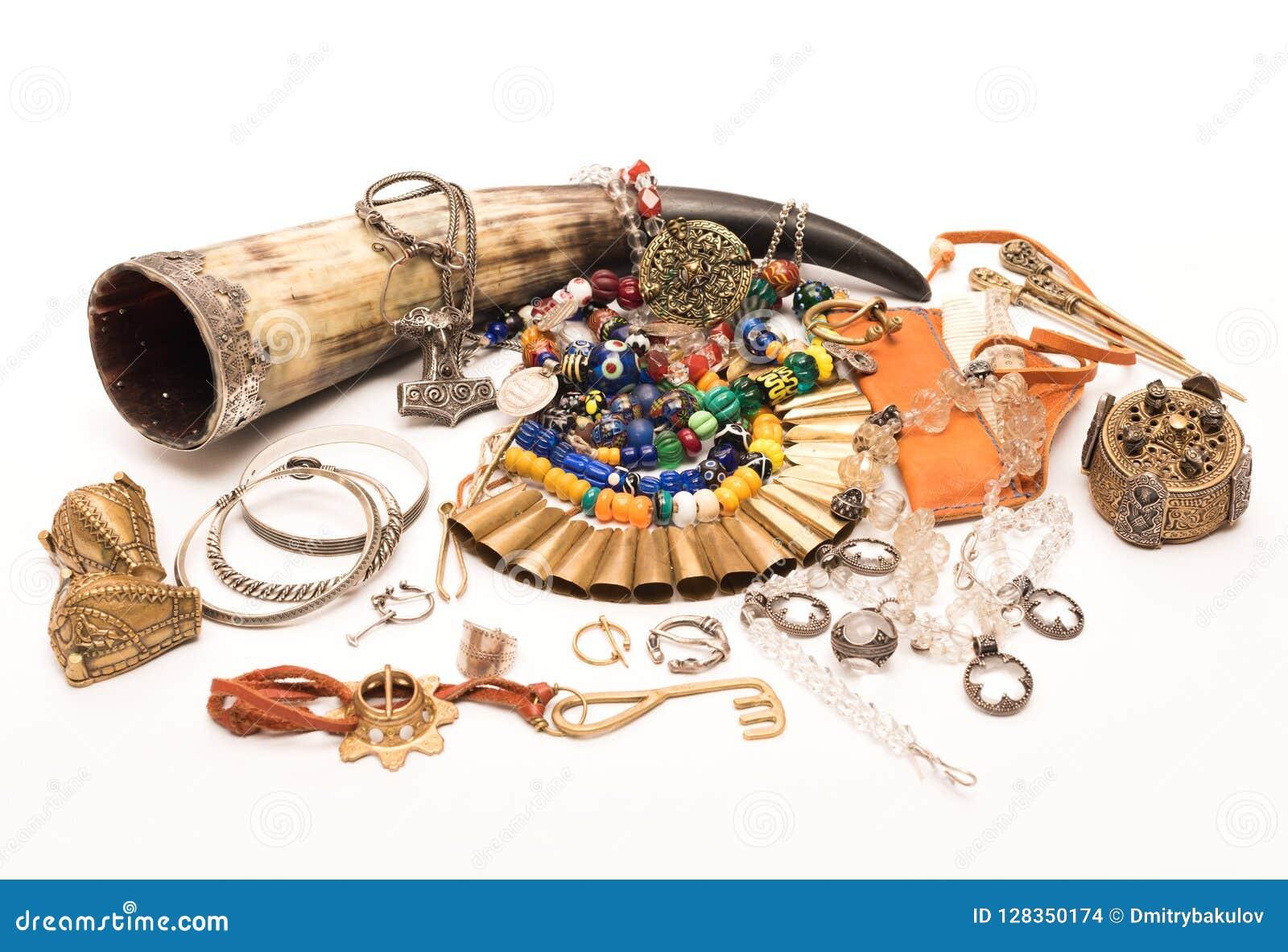 Die Dekoration der alten Wikinger Handgemachtes Zubehör der Weinlese