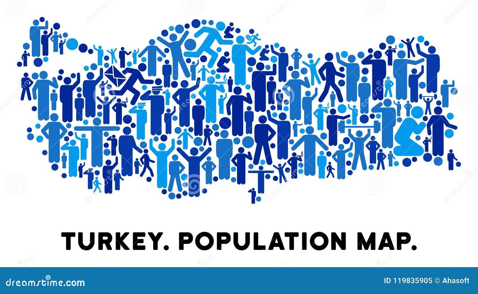 Die Demographie Türkei Karte Vektor Abbildung Illustration